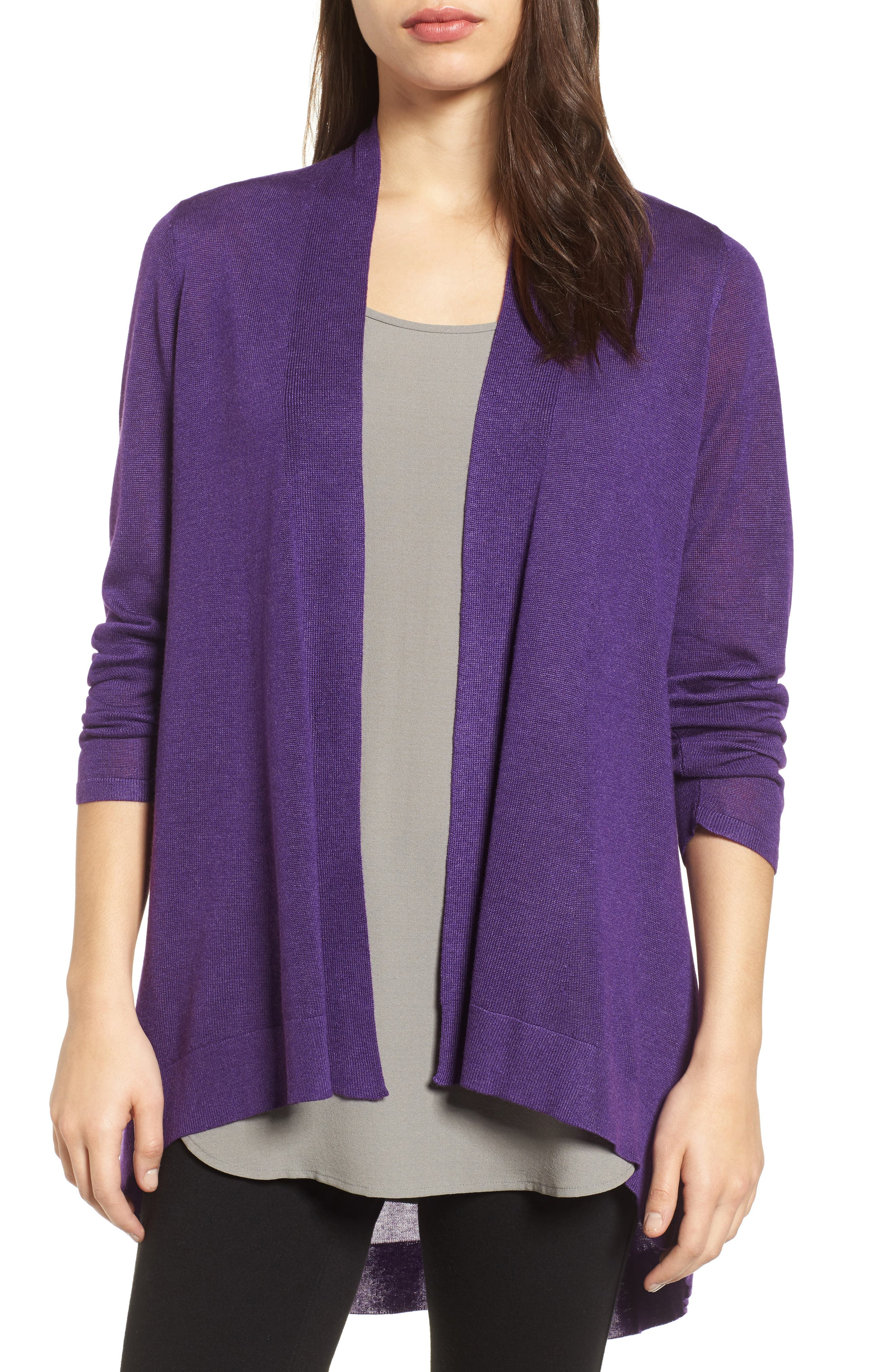 Eileen Fisher Tencel® & Merino Wool Shaped Cardigan