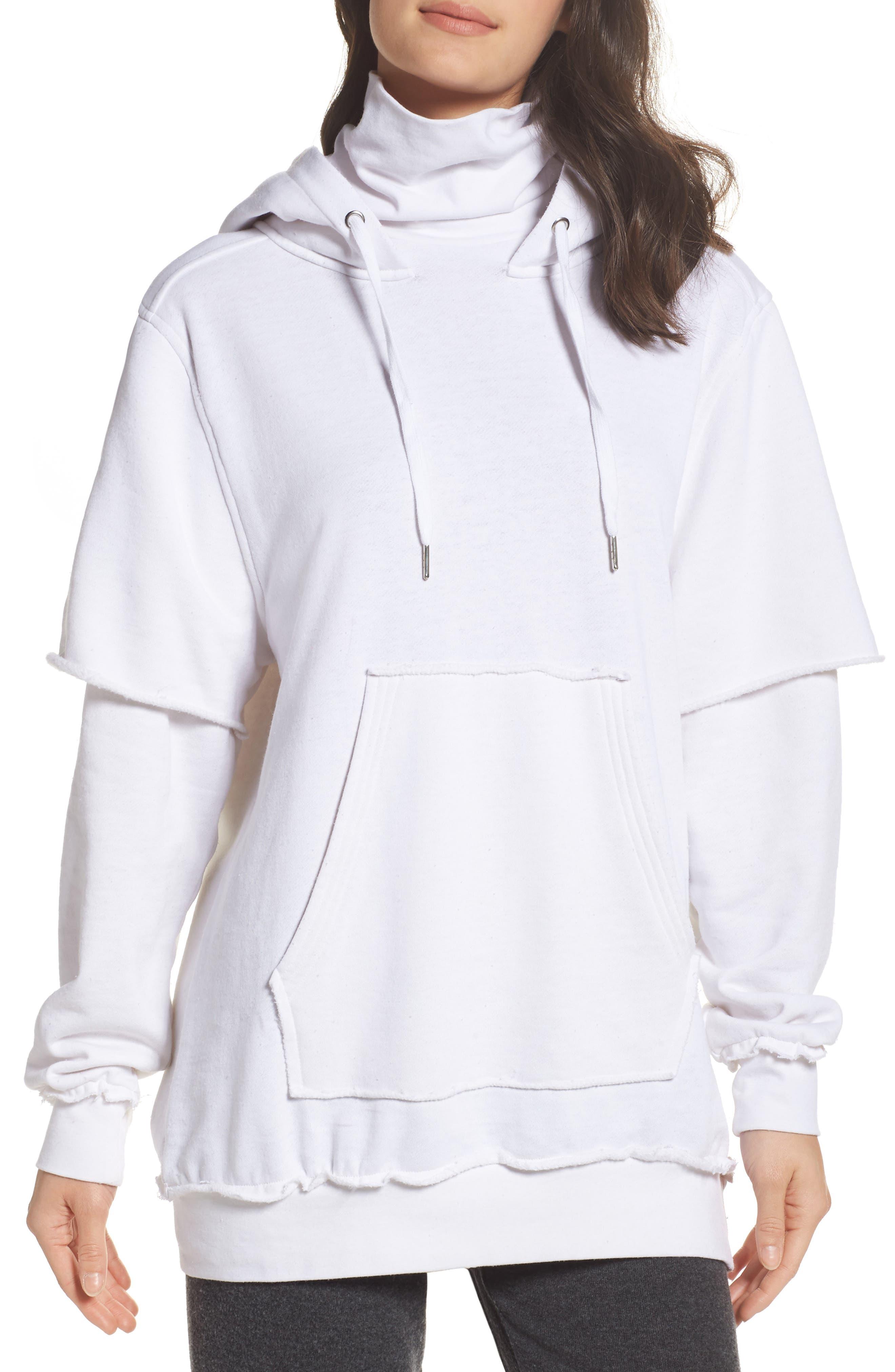 Good Hood Sweatshirt Dress,                         Main,                         color, White