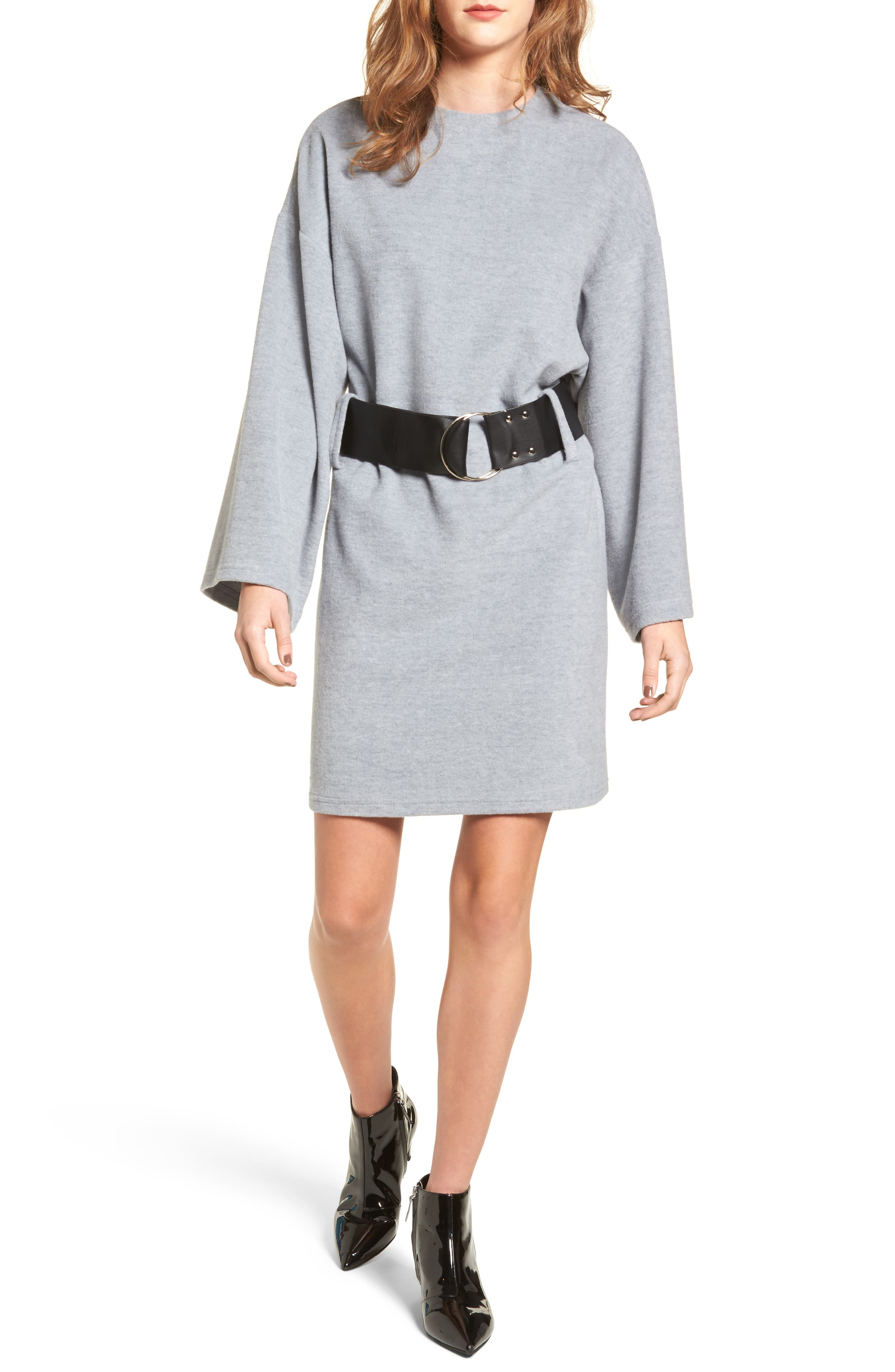 Belted Bell Sleeve Sweater Dress,                         Main,                         color, Grey