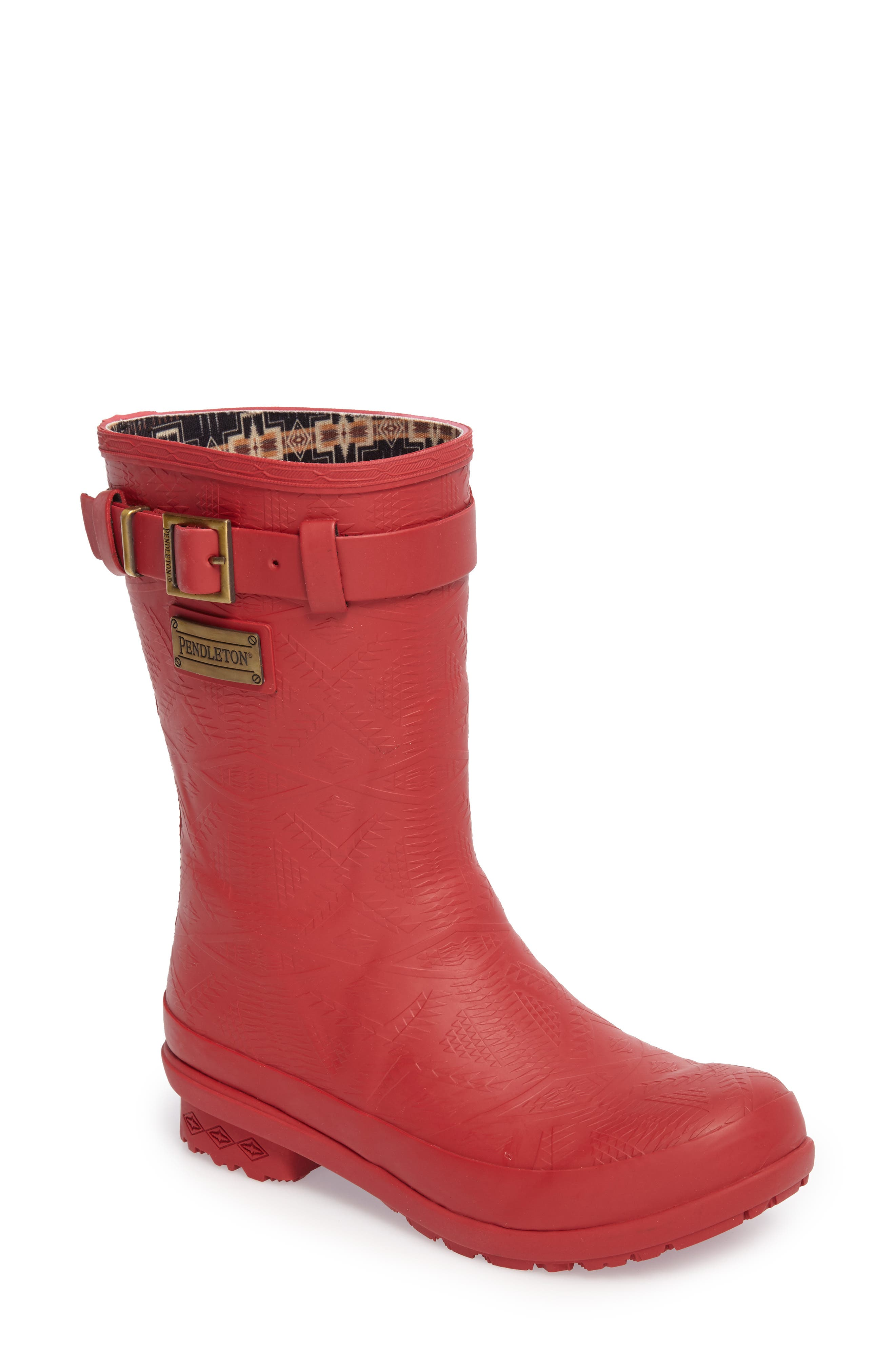 Pendleton Embossed Short Rain Boot,                             Main thumbnail 1, color,                             Scarlet