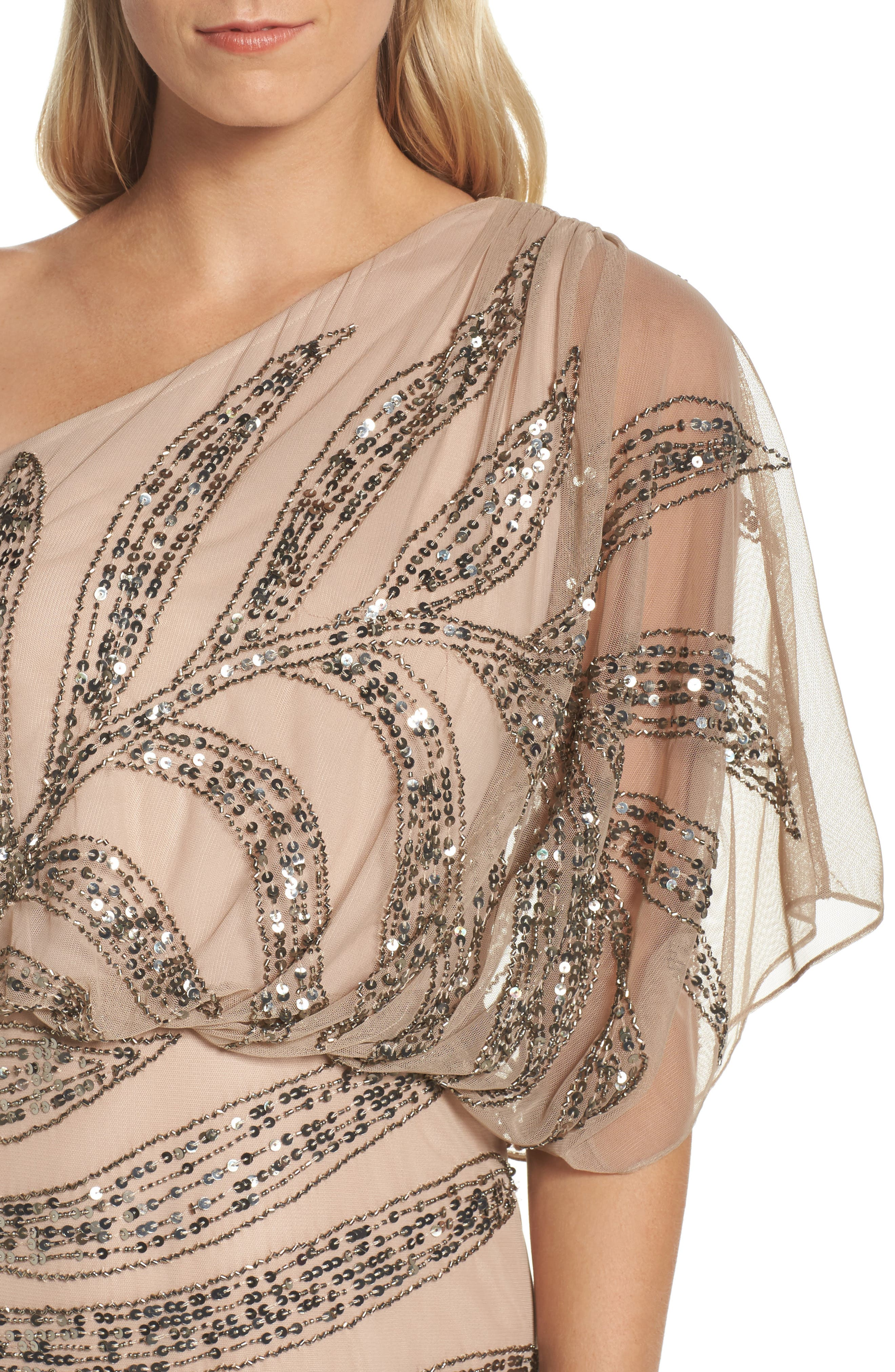 Beaded One-Shoulder Blouson Mesh Gown,                             Alternate thumbnail 4, color,                             Taupe/ Pink