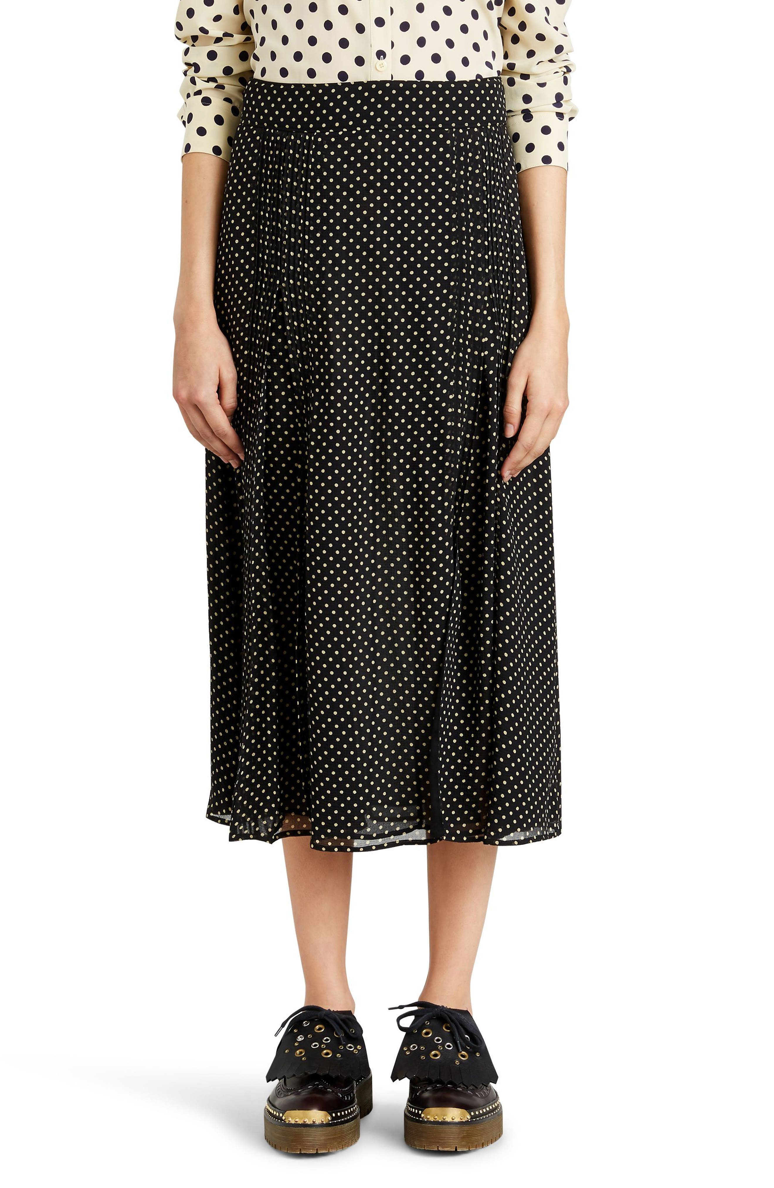 Fine Pintuck Dot Print Silk Skirt,                             Main thumbnail 1, color,                             Black