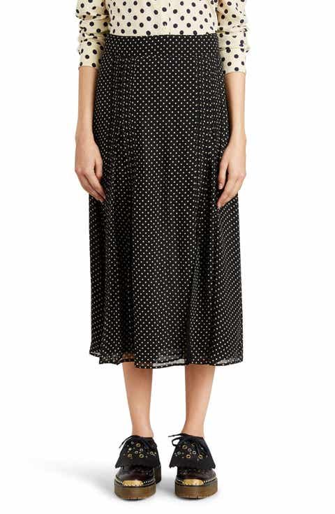 Burberry Fine Pintuck Dot Print Silk Skirt