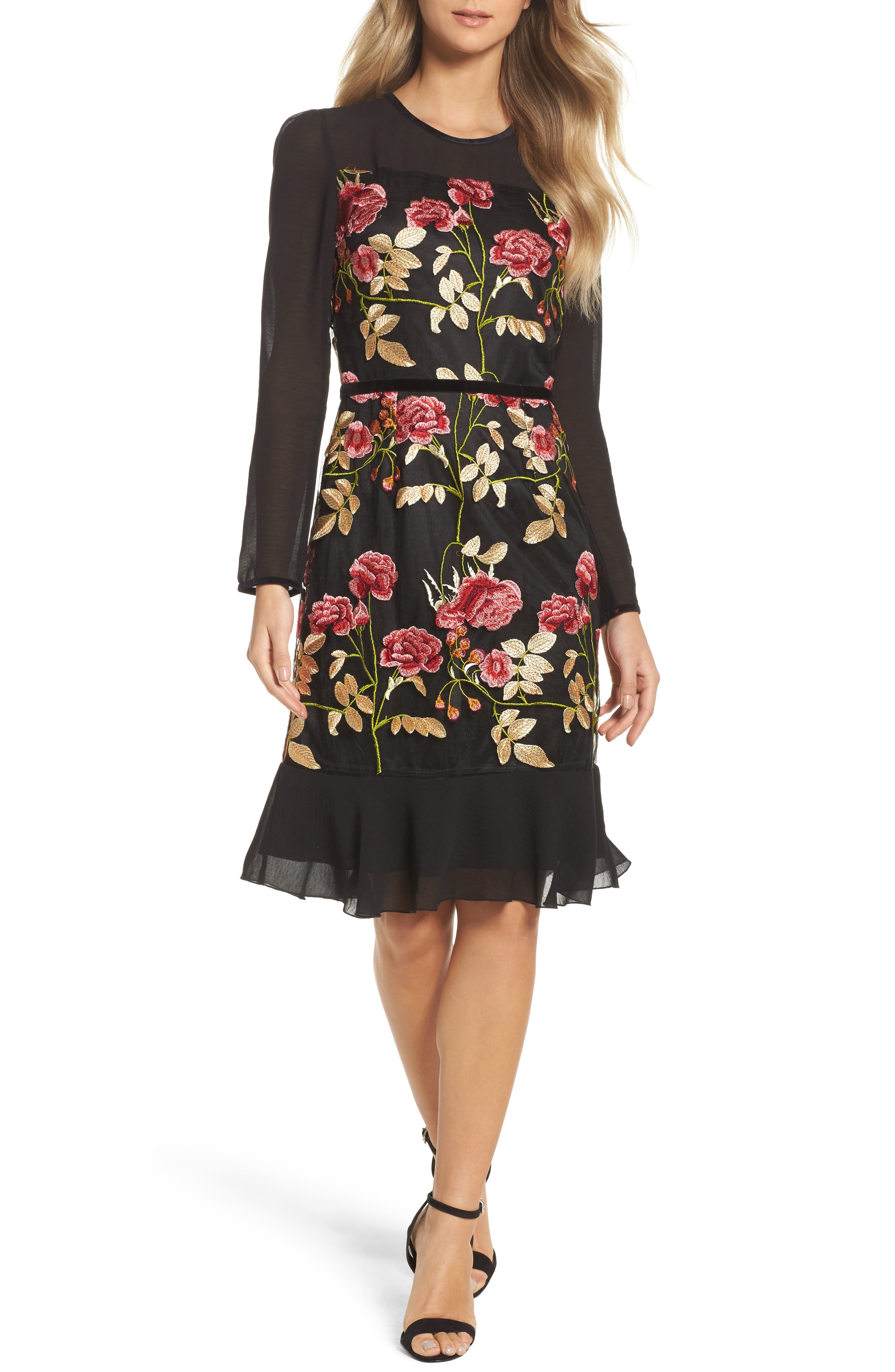 Ari Embroidered Mesh Dress,                         Main,                         color, Black/ Red