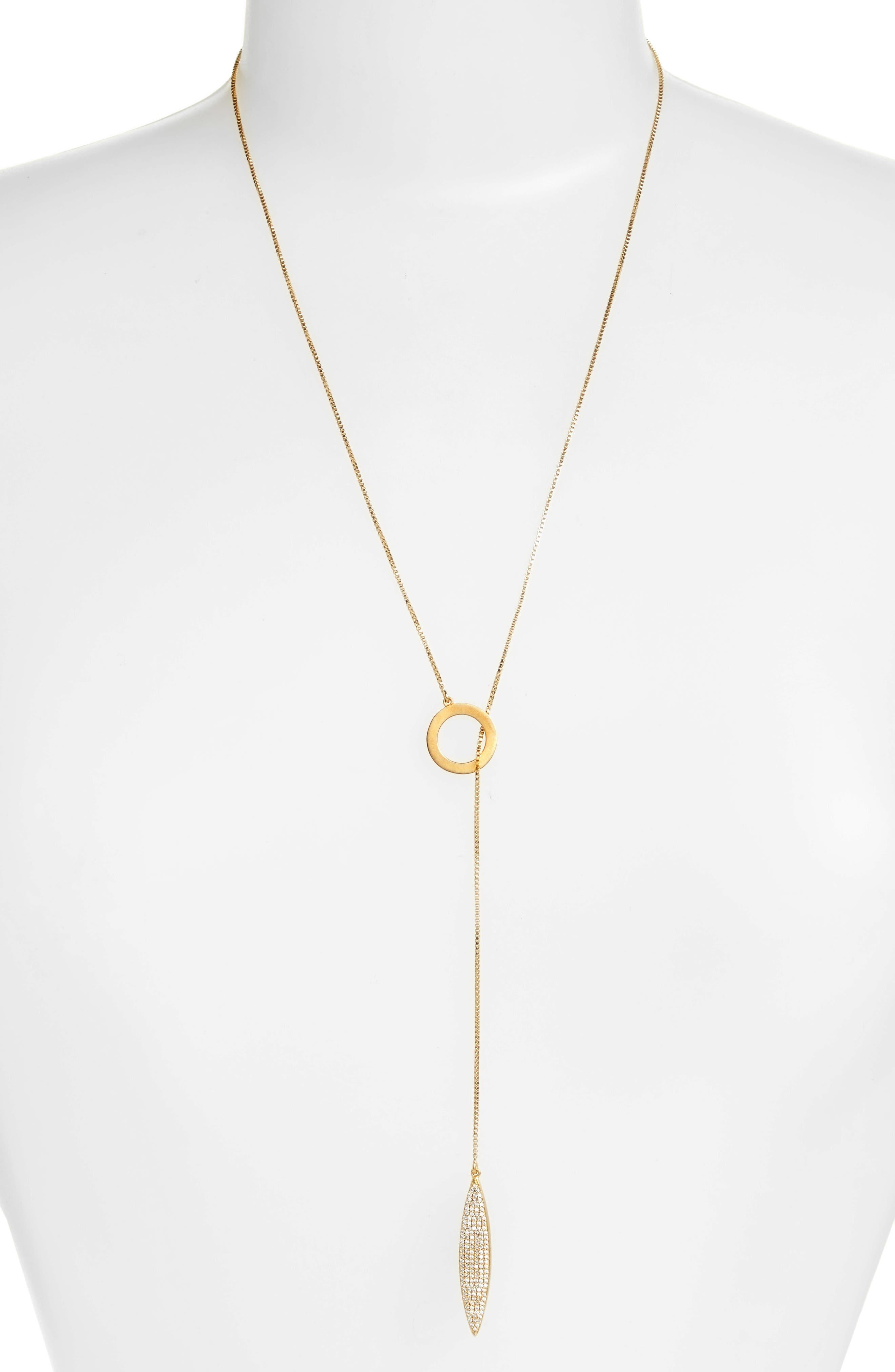 Zaha Pavé Lariat Necklace,                         Main,                         color, White Topaz/ Gold