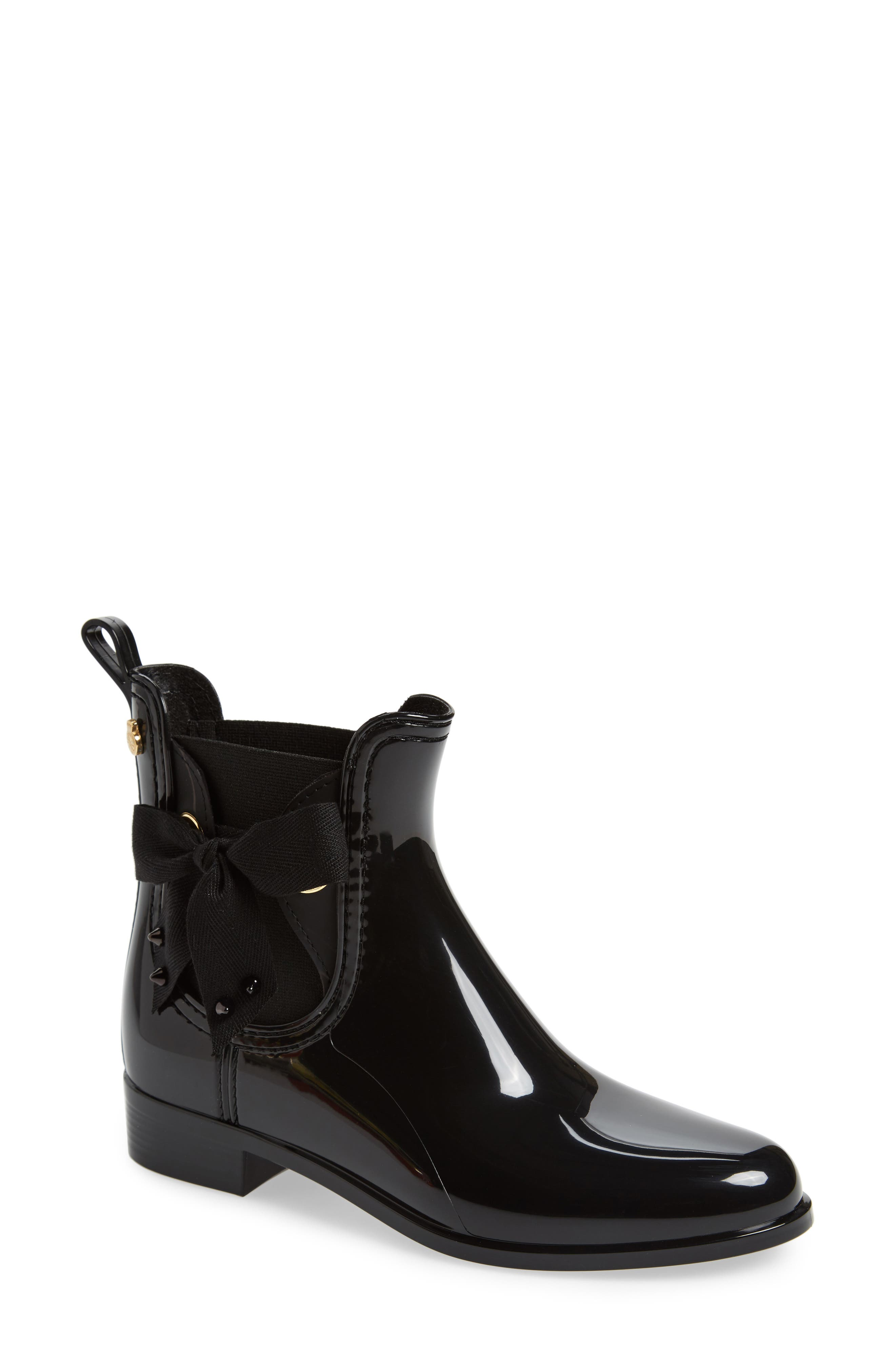 Haley Waterproof Chelsea Boot,                             Main thumbnail 1, color,                             Black Gloss
