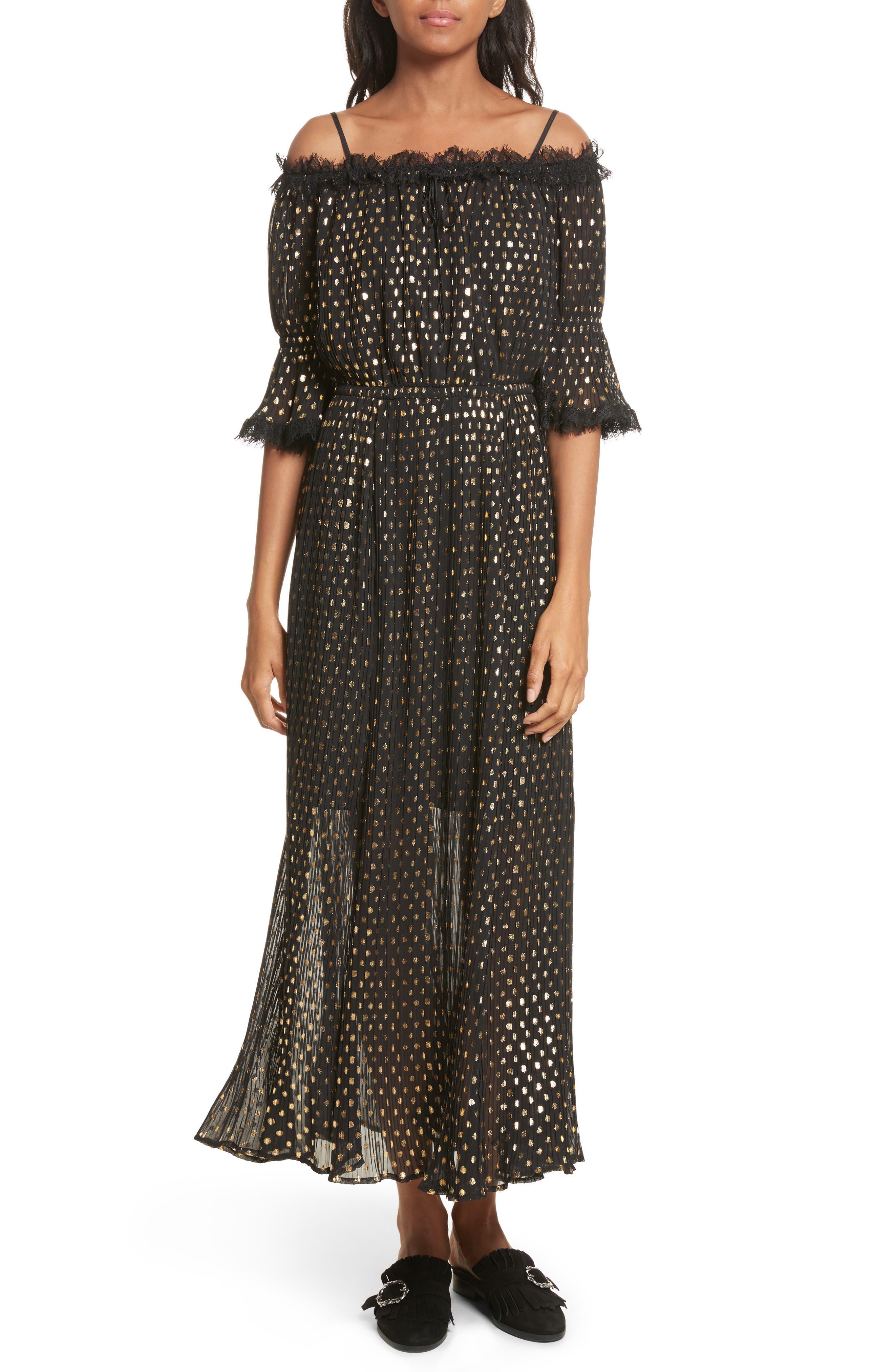 Main Image - The Kooples Polka Dot Off the Shoulder Maxi Dress
