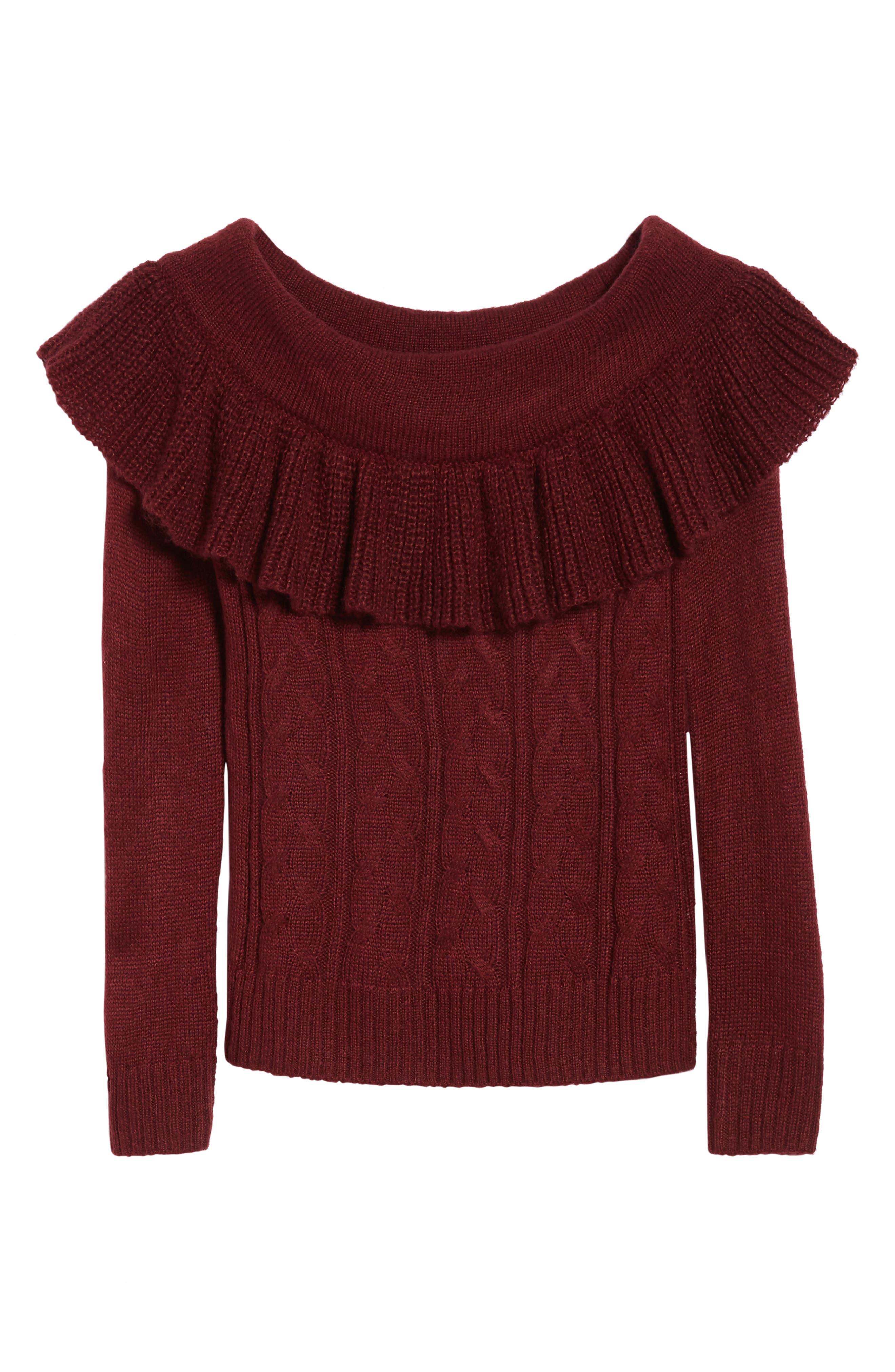 Sheldon Off the Shoulder Sweater,                             Alternate thumbnail 6, color,                             Red Tannin
