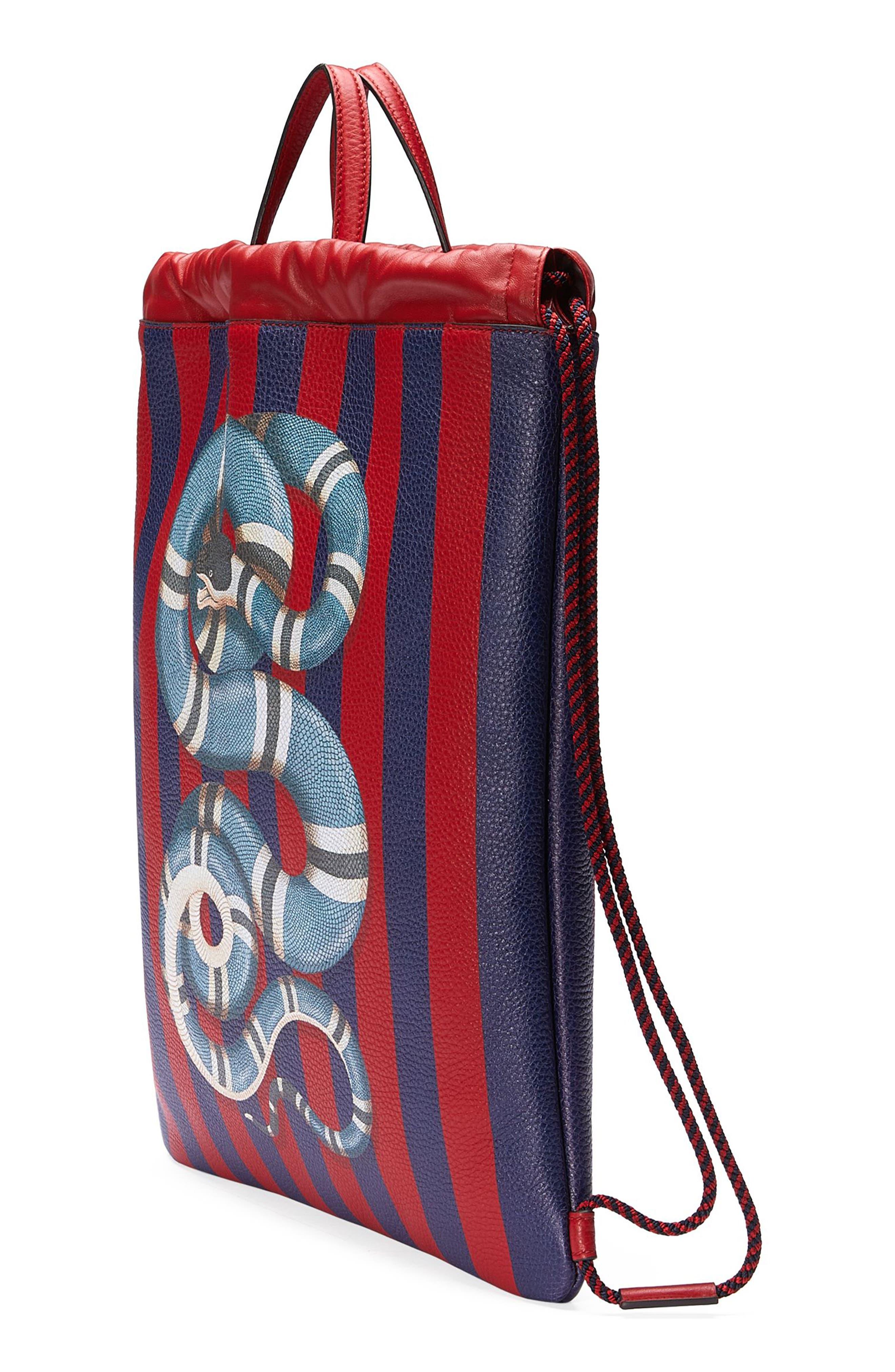 Alternate Image 4  - Gucci Kingsnake Stripe Leather Drawstring Backpack