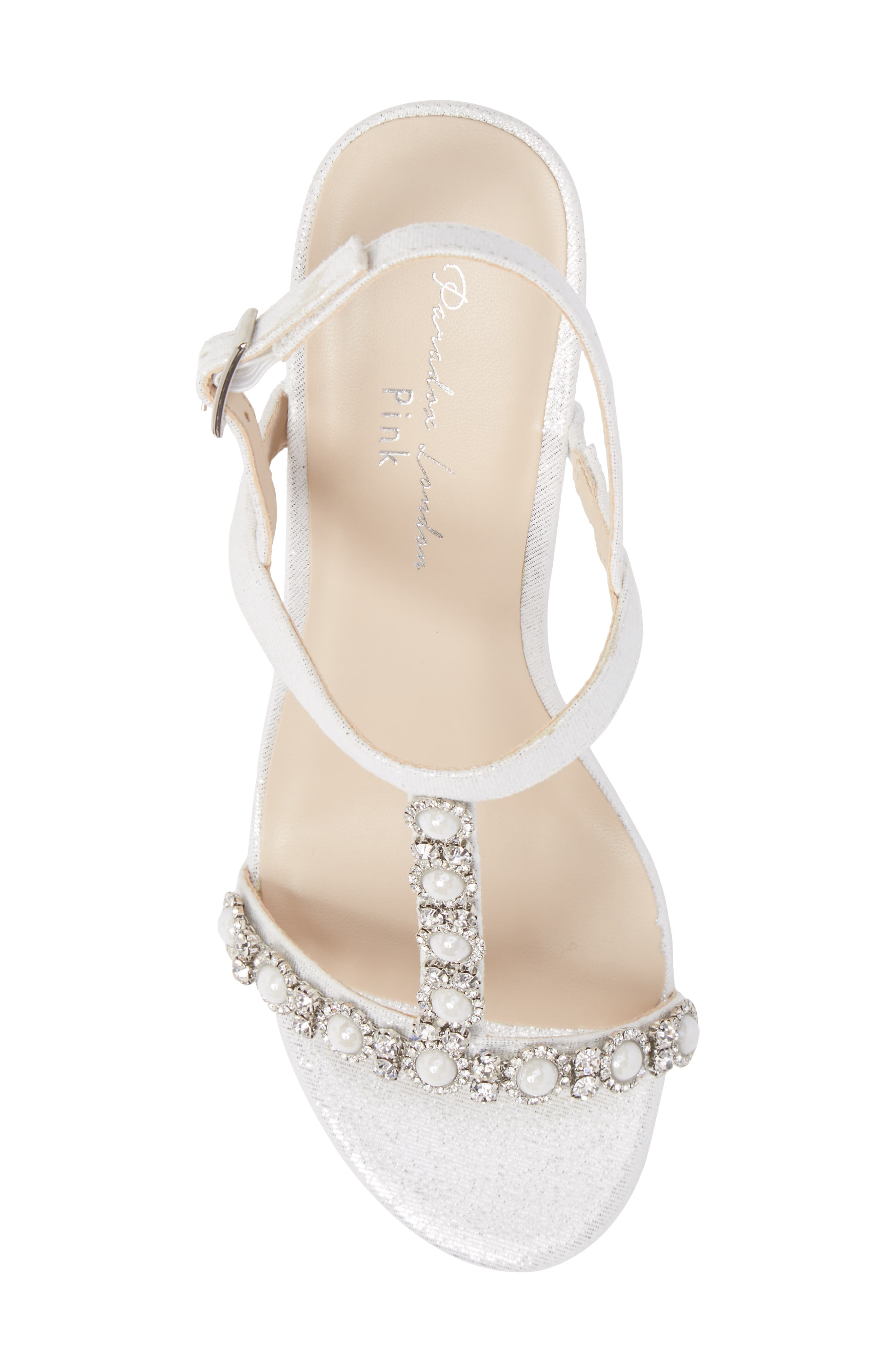 Kiana Embellished Wedge Sandal,                             Alternate thumbnail 5, color,                             Silver Glitter