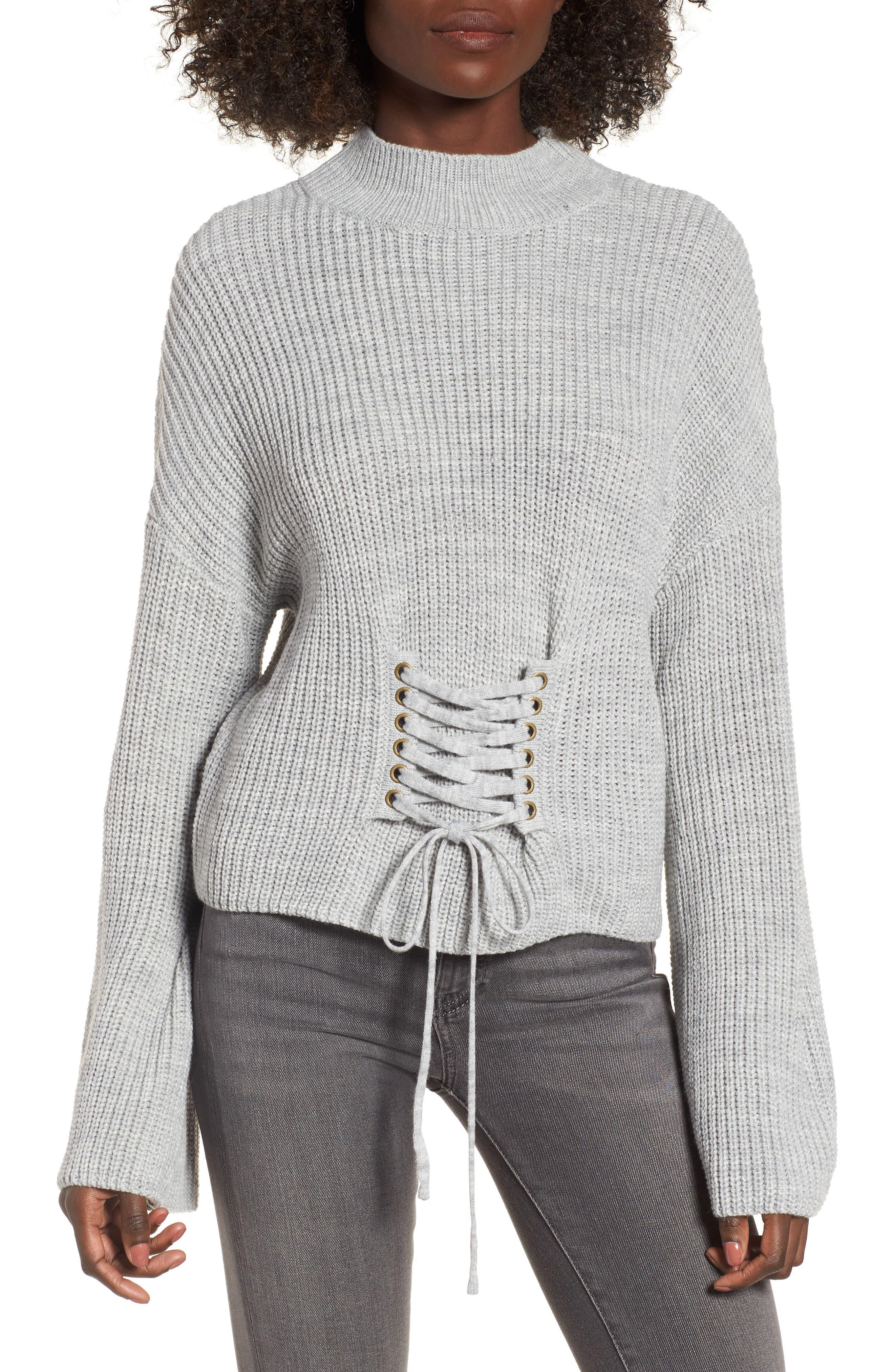 Corset Sweater,                             Main thumbnail 1, color,                             Grey