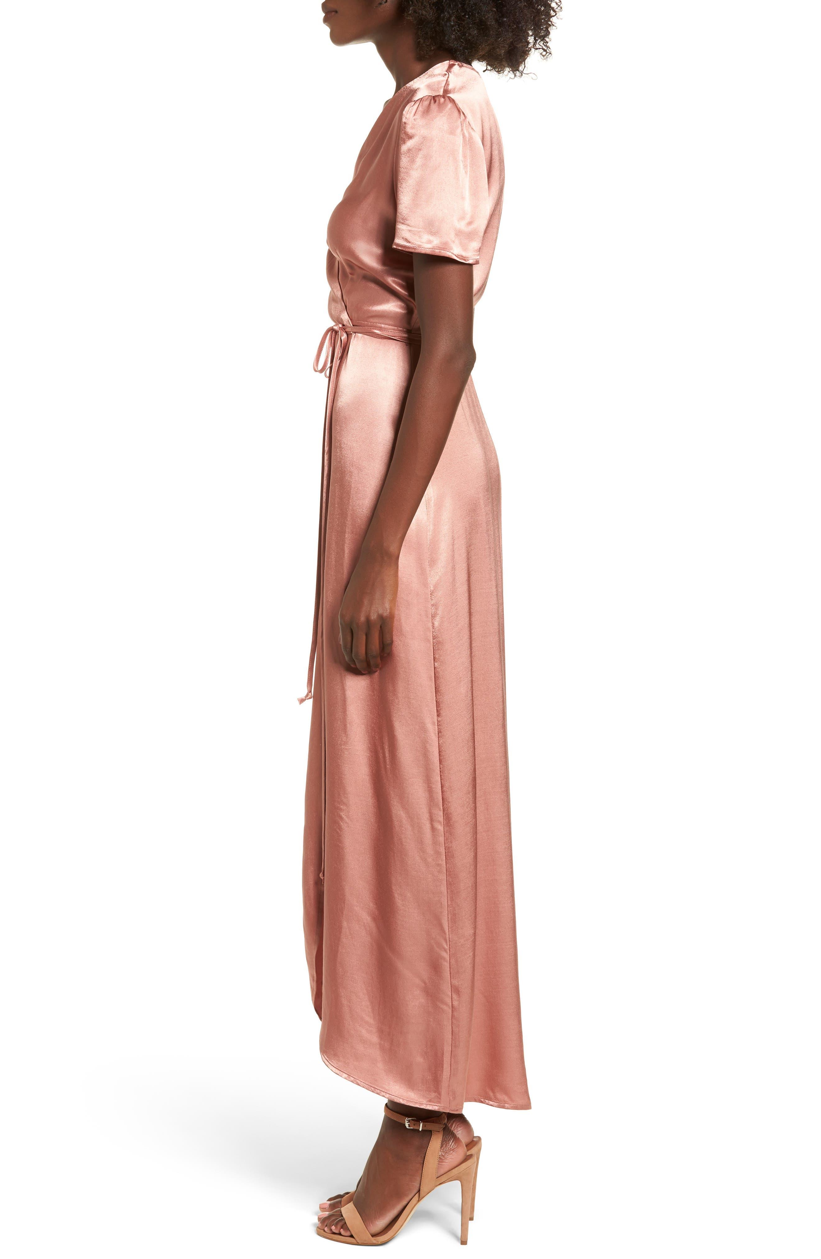 Gwyneth Wrap Maxi Dress,                             Alternate thumbnail 3, color,                             Dusty Rose