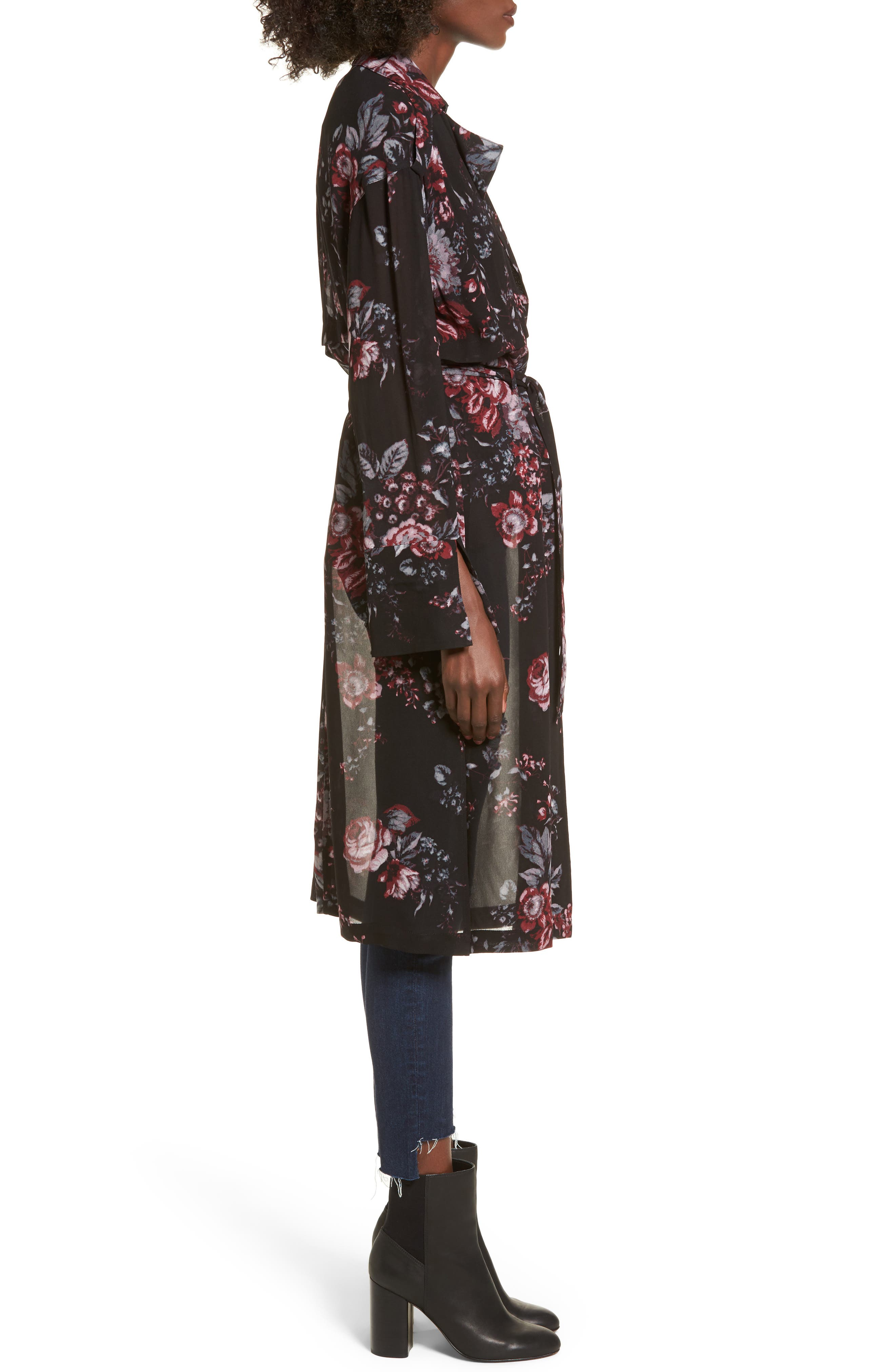 Floral Trench Coat,                             Alternate thumbnail 3, color,                             Black Photo Real Floral