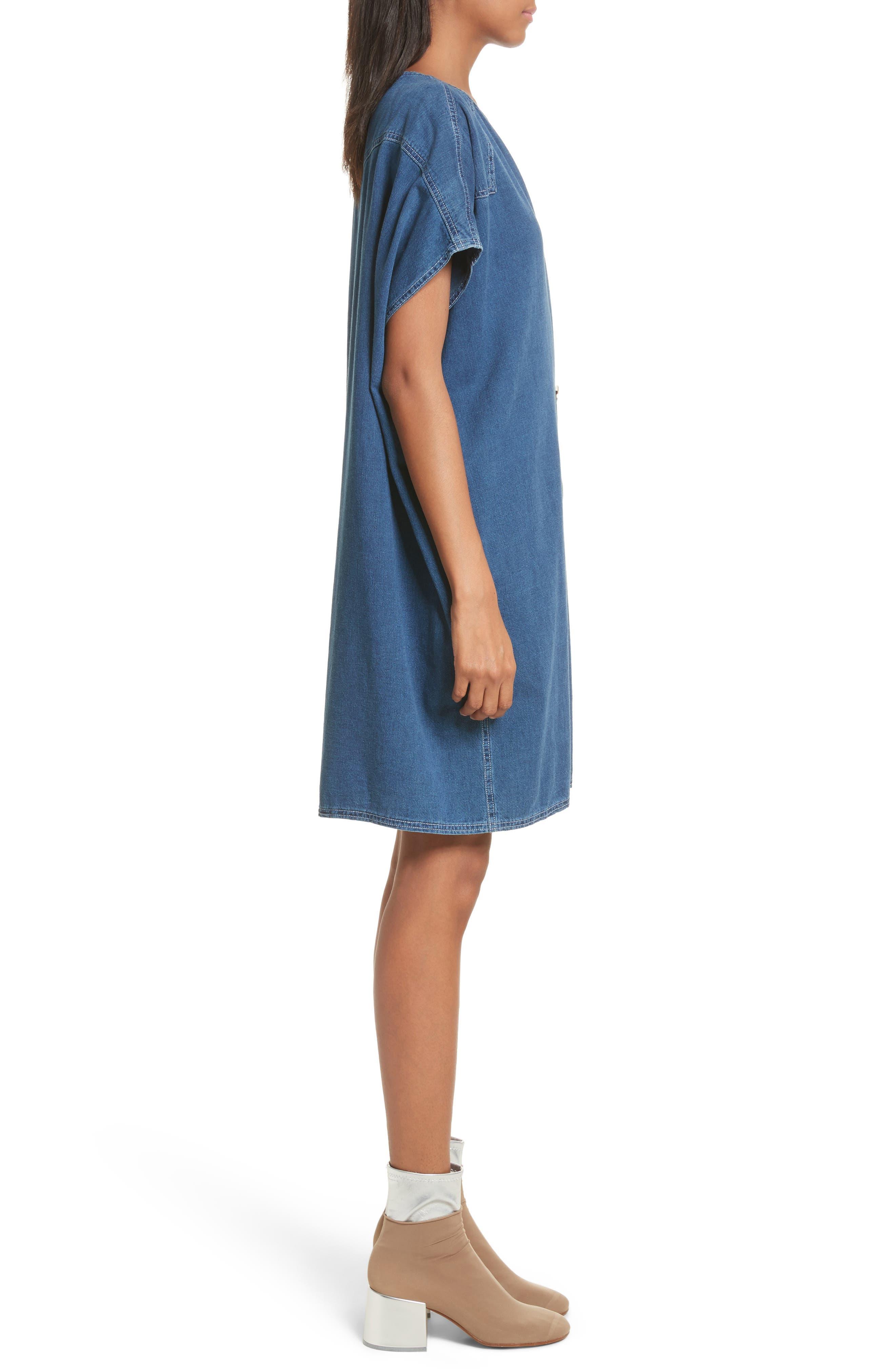 '80s Wash Denim Dress,                             Alternate thumbnail 3, color,                             Medium Blue