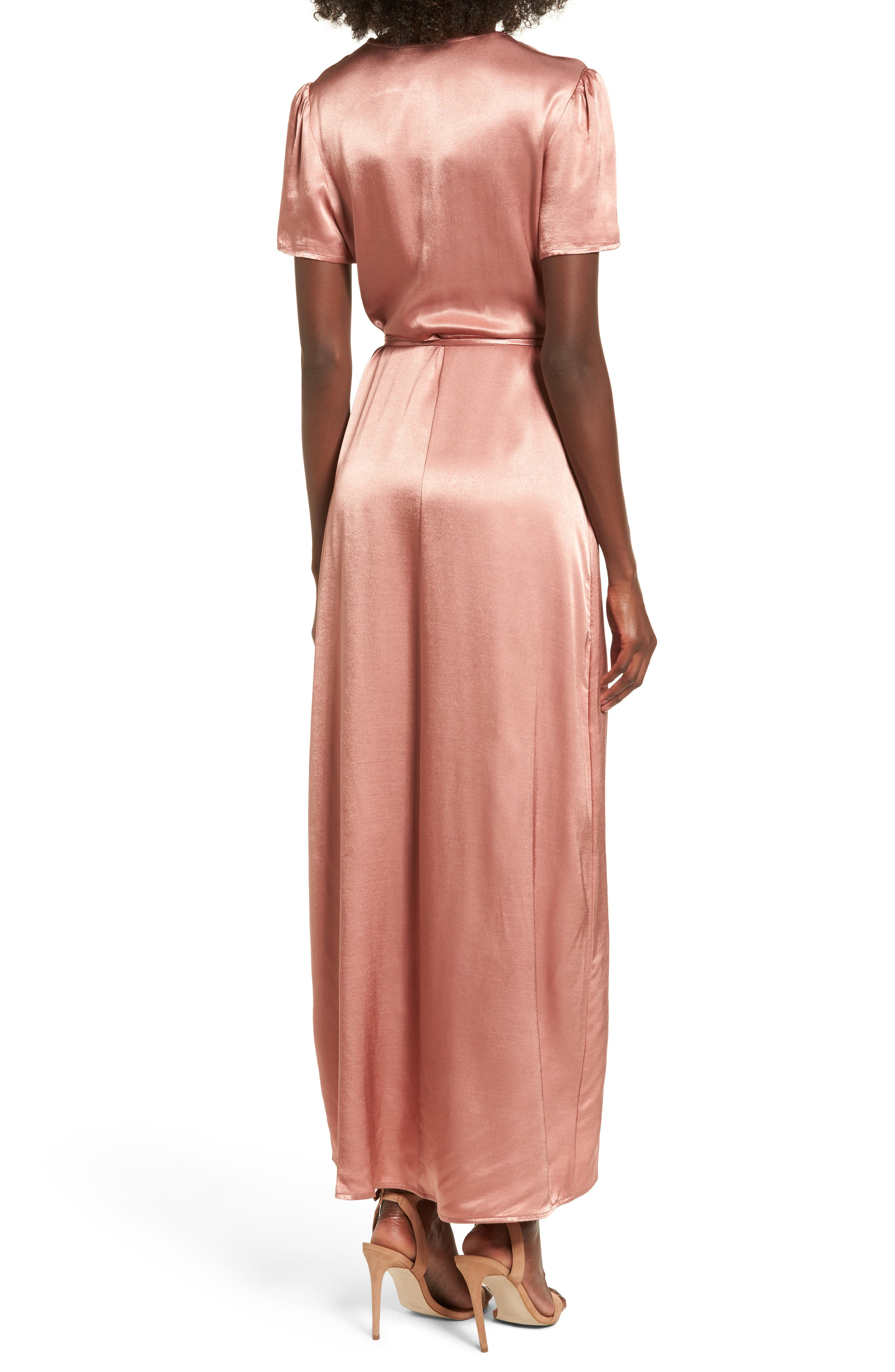 Gwyneth Wrap Maxi Dress,                             Alternate thumbnail 2, color,                             Dusty Rose