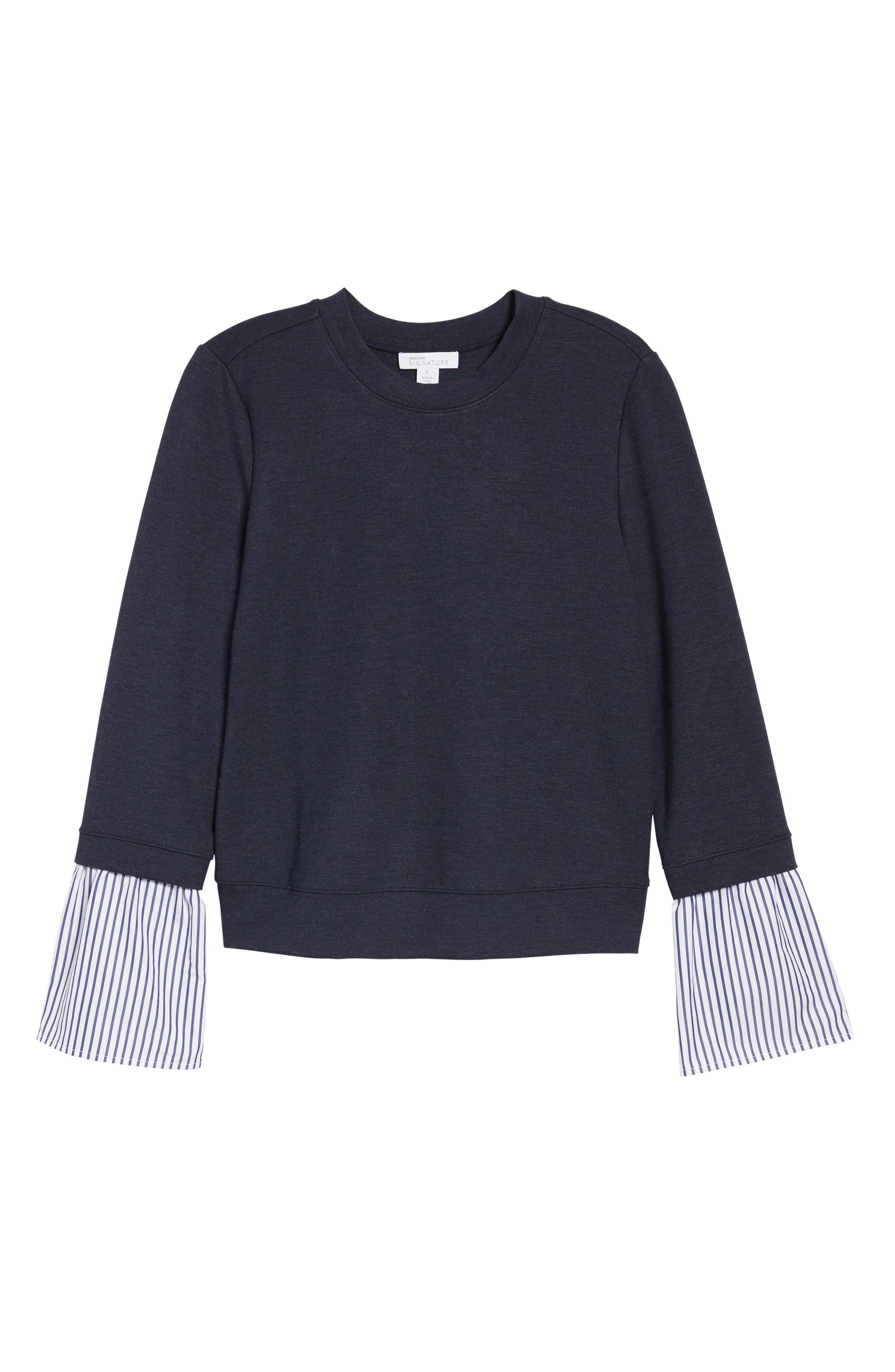 Poplin & Lace Crewneck Sweatshirt,                             Alternate thumbnail 6, color,                             Navy Night