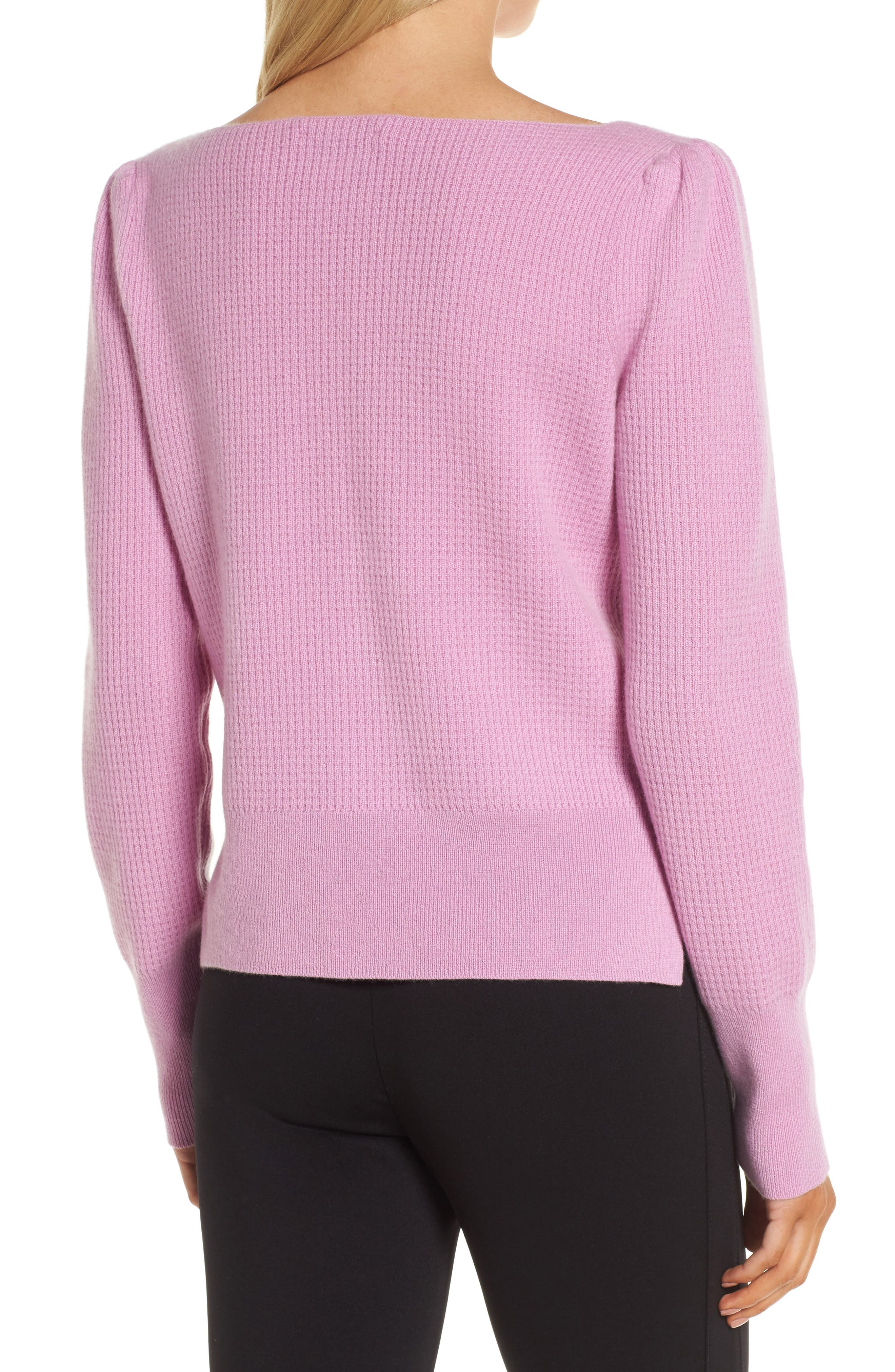 Waffle Stitch Cashmere Sweater,                             Alternate thumbnail 2, color,                             Pink Gale