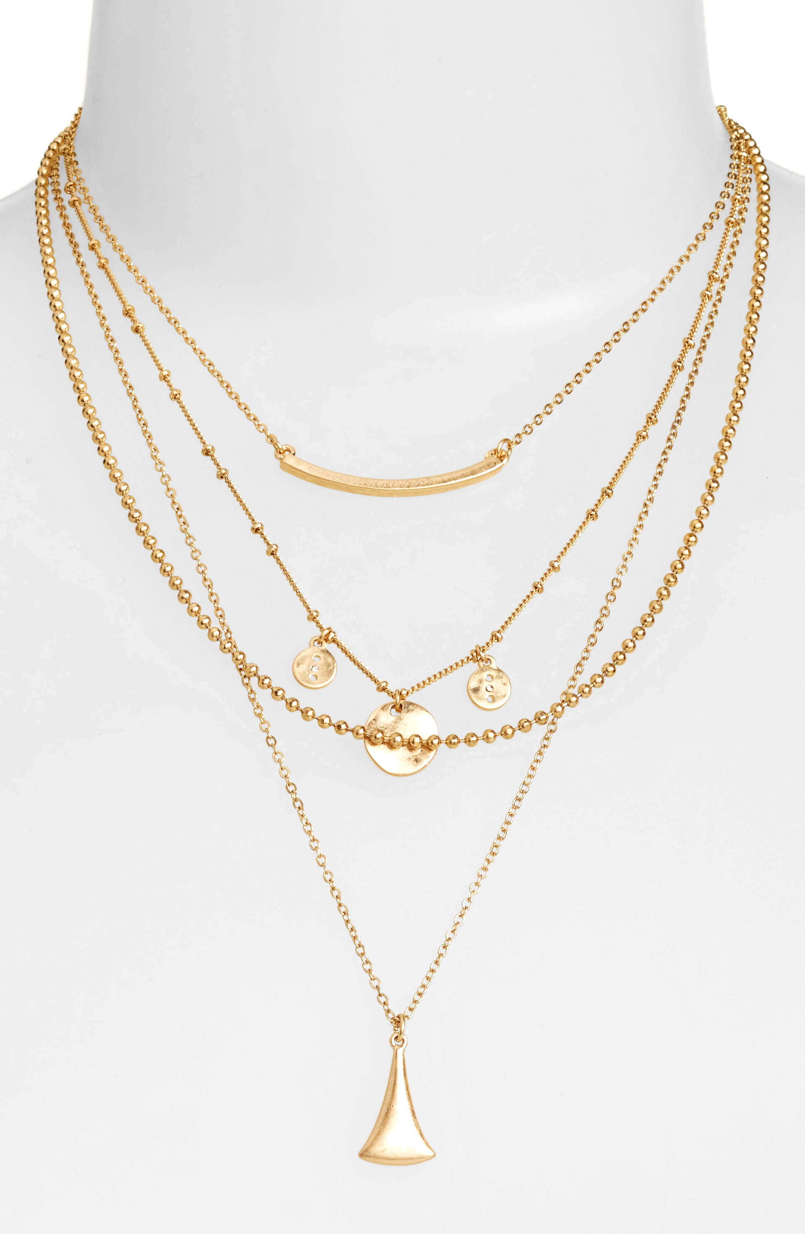 Multistrand Necklace,                         Main,                         color, Gold