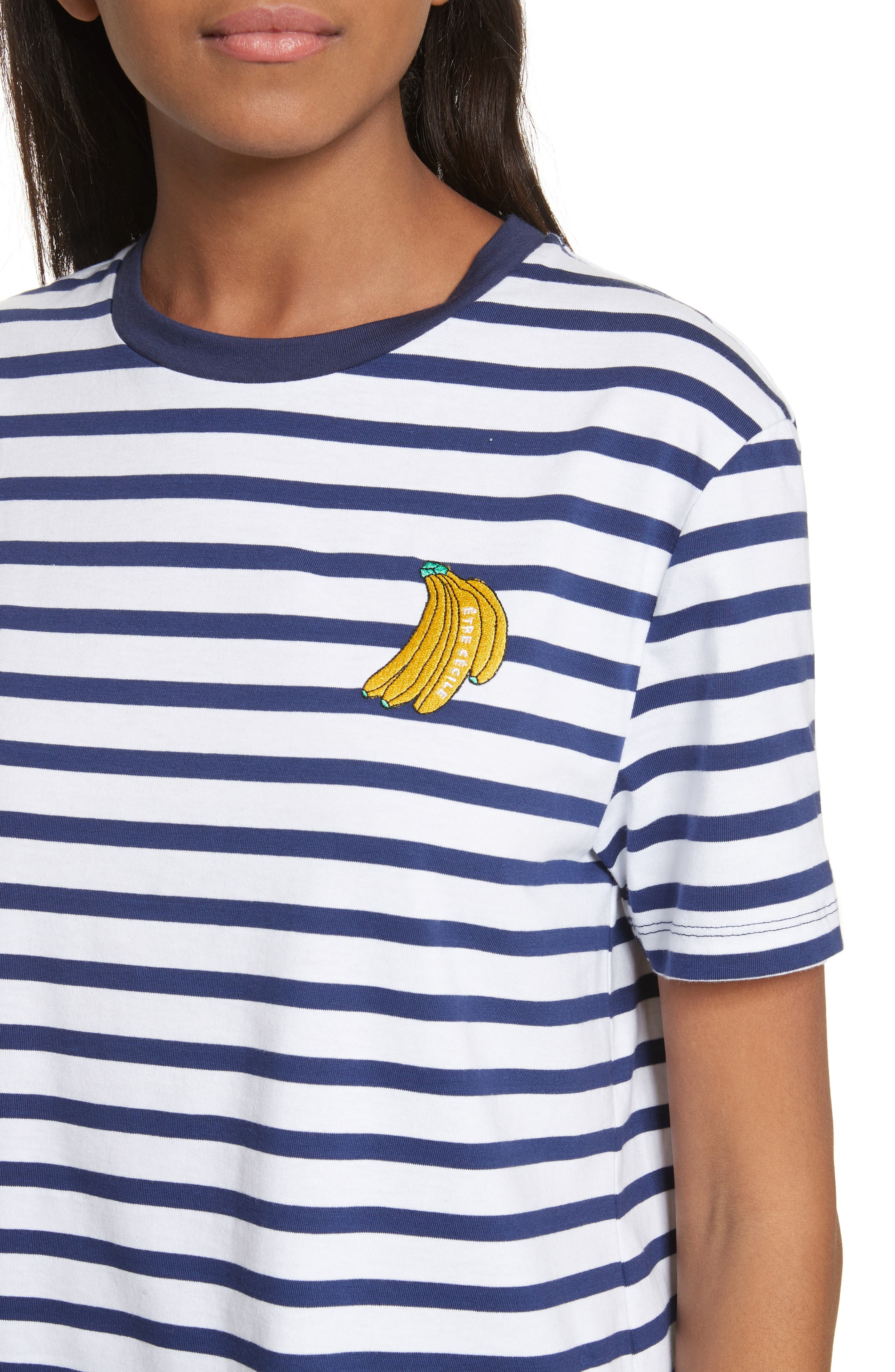 être cécile Bananas Tee,                             Alternate thumbnail 4, color,                             Marine Breton
