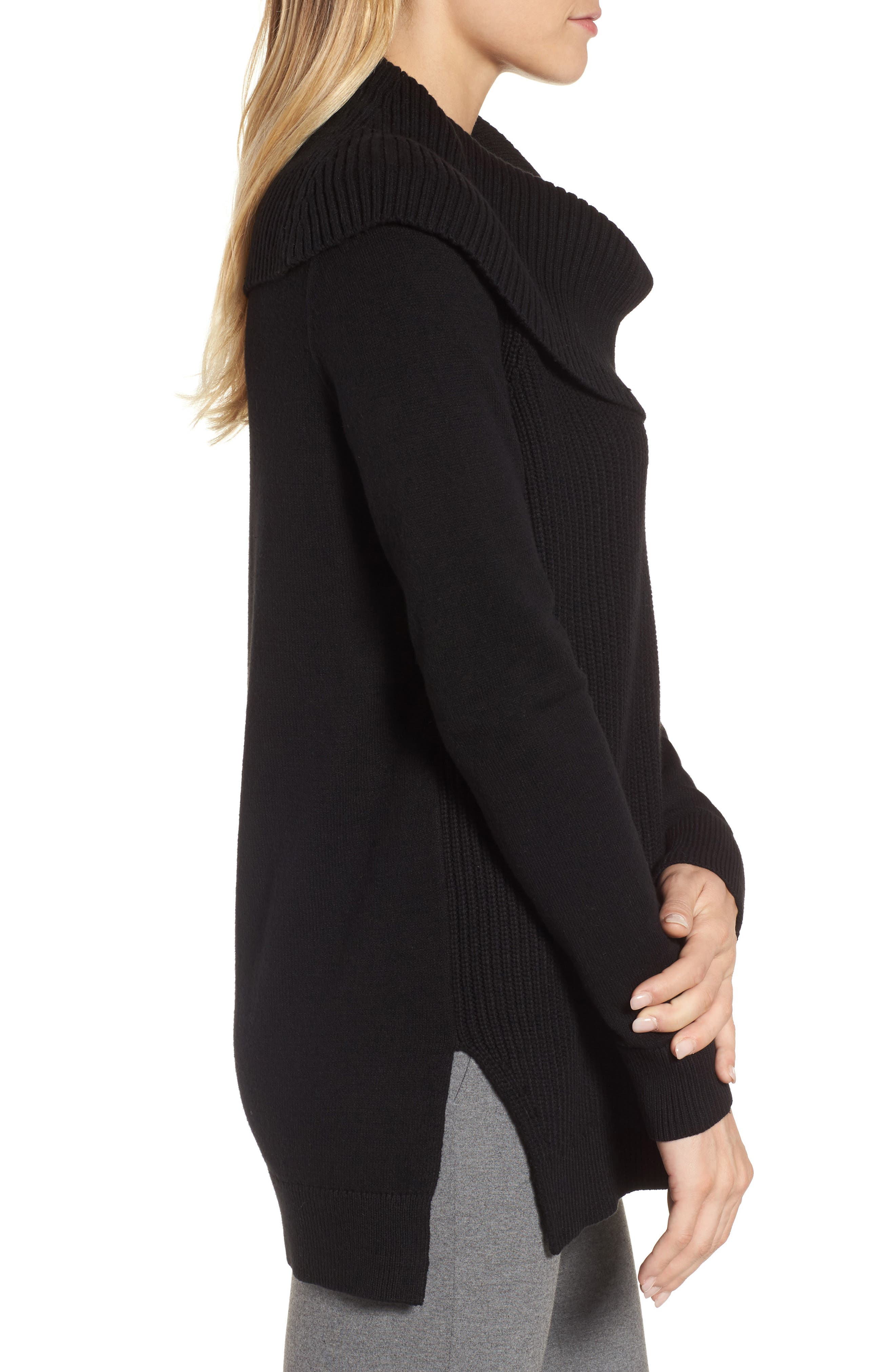 Cowl Neck Sweater,                             Alternate thumbnail 3, color,                             Black