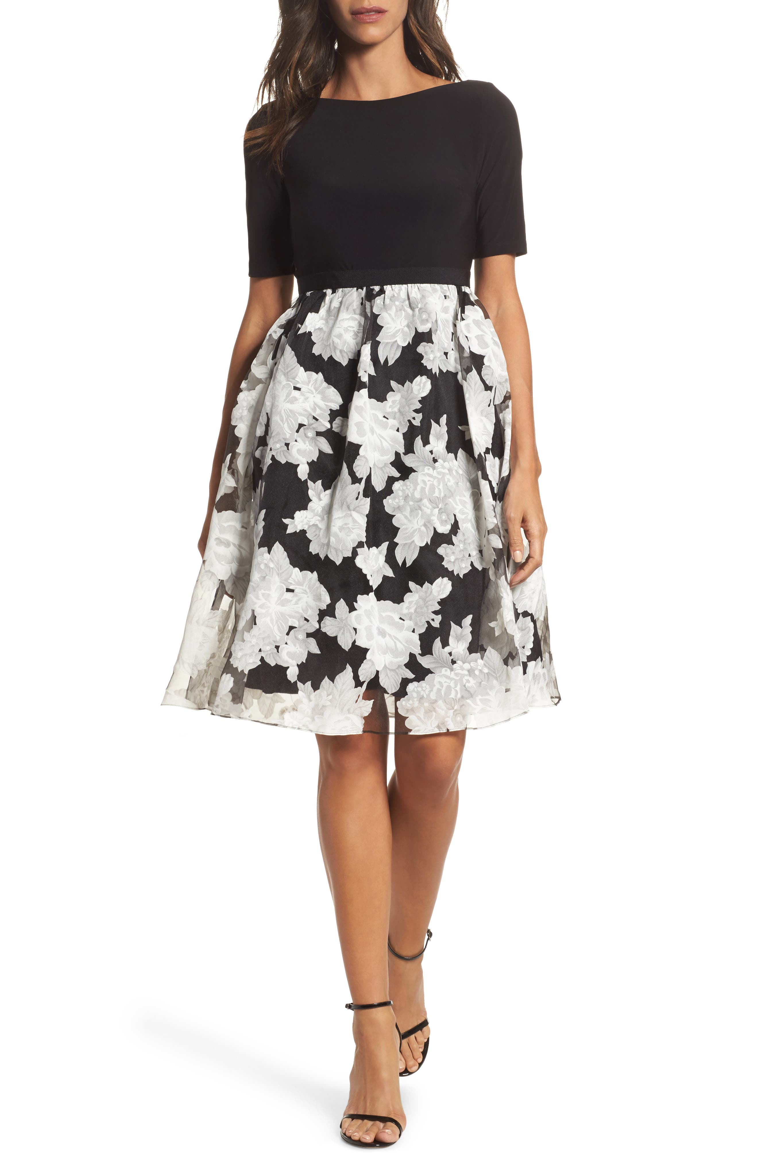 Print Organza Fit & Flare Dress,                             Main thumbnail 1, color,                             Black/ Ivory
