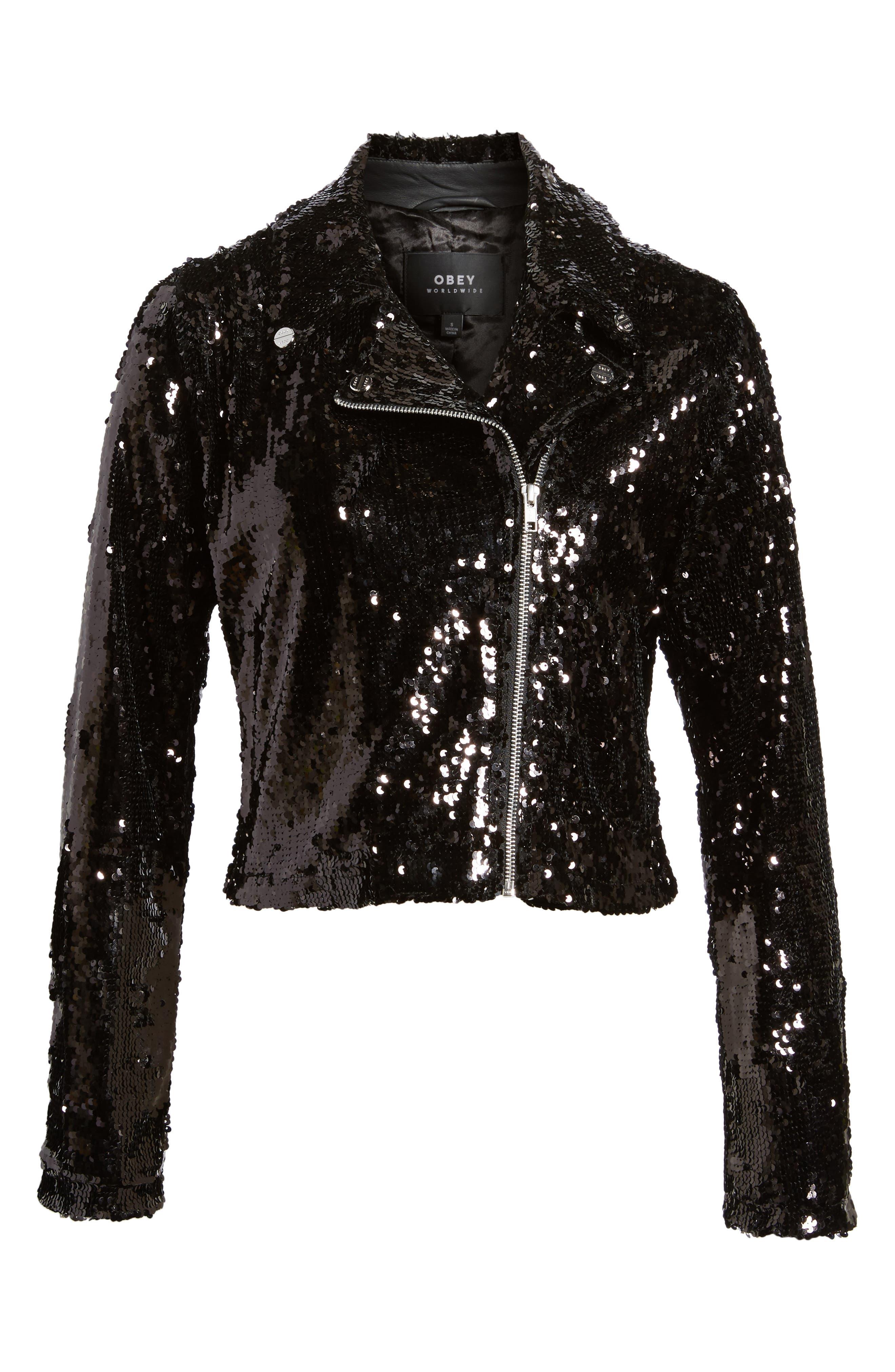 Bigby Sequin Moto Jacket,                             Alternate thumbnail 6, color,                             Black