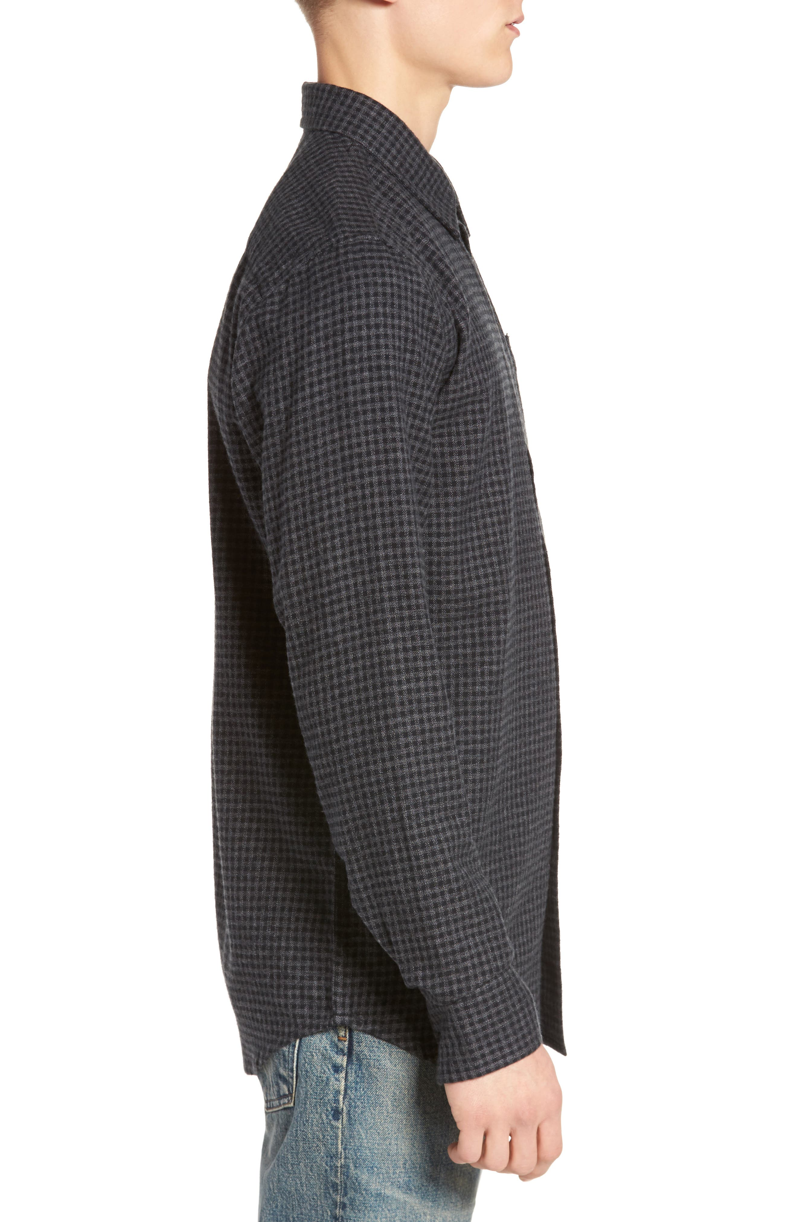 Outsider Microcheck Sport Shirt,                             Alternate thumbnail 3, color,                             Black Multi