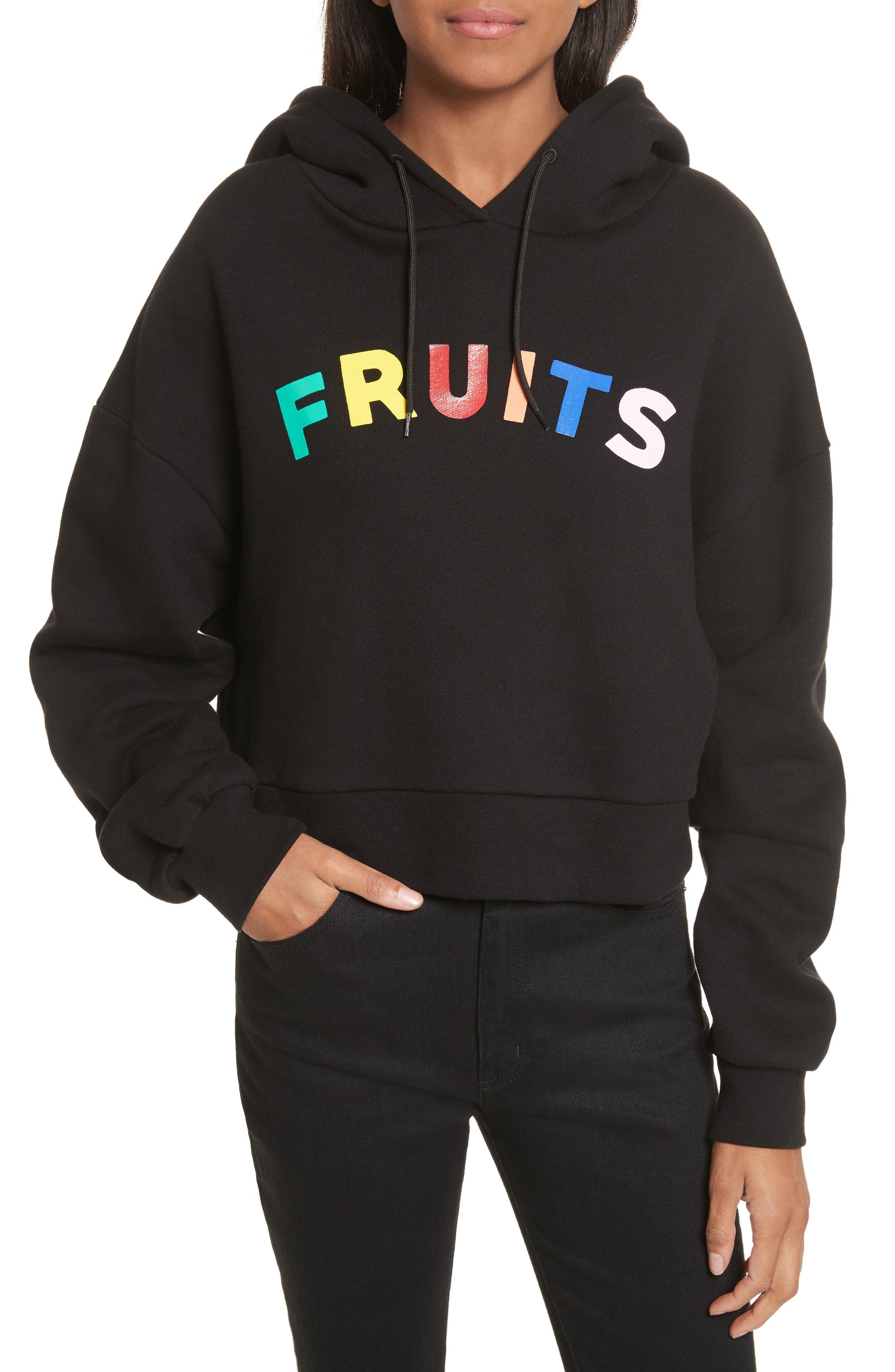 être cécile Fruits Crop Oversize Hoodie,                         Main,                         color, Black