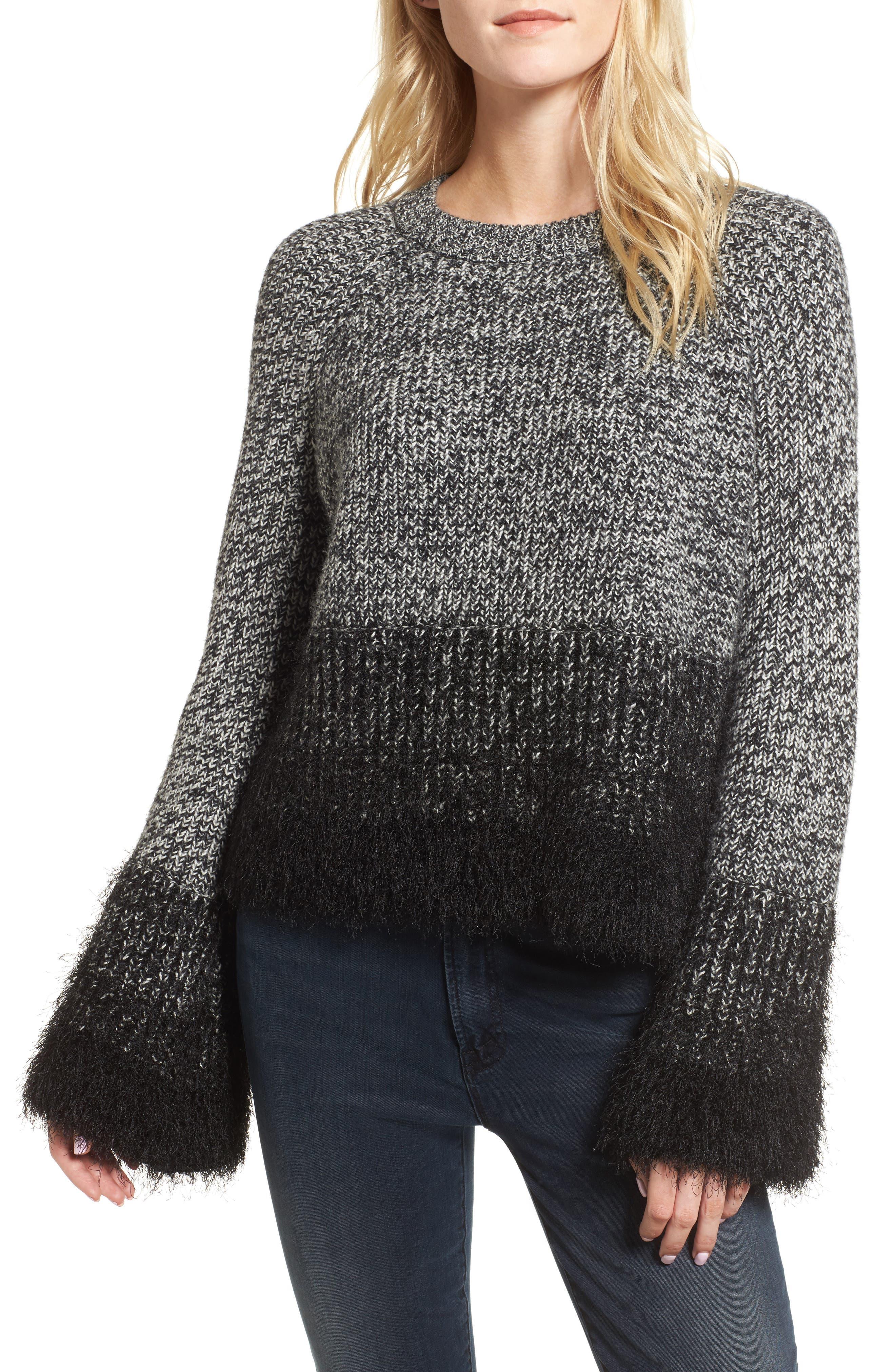 Eyelash Fringe Sweater,                         Main,                         color, Rich Black