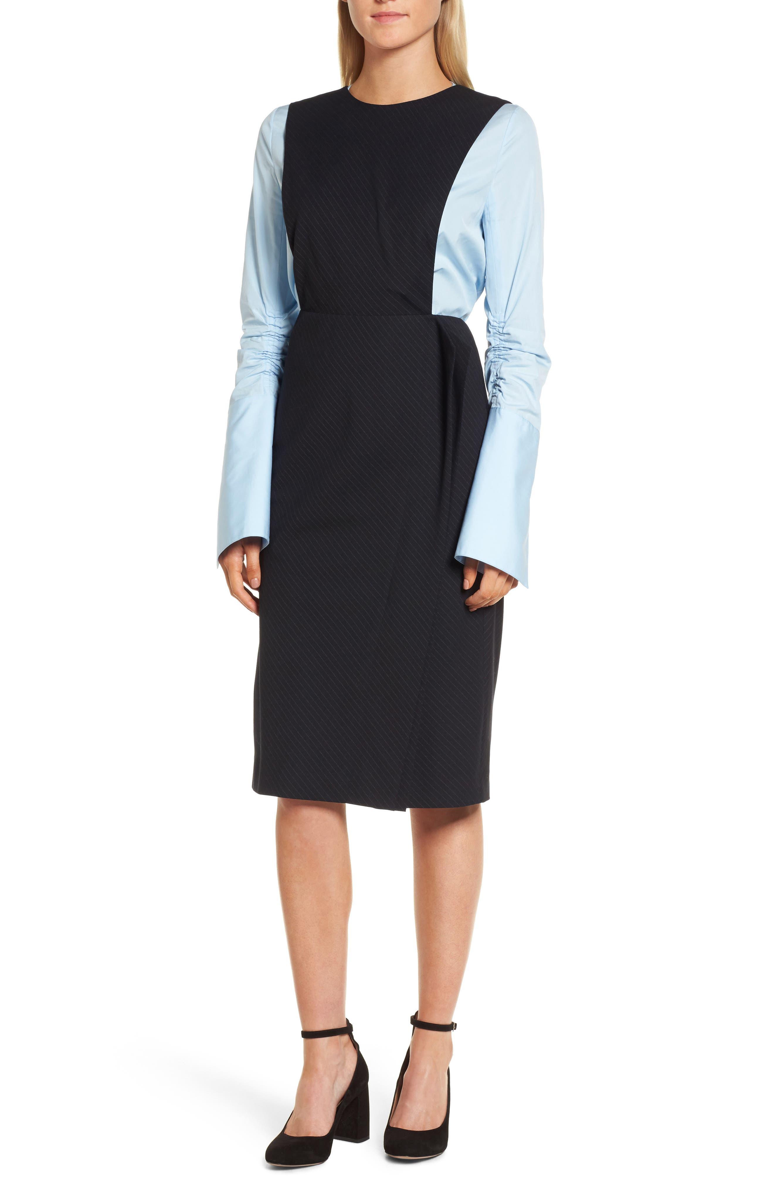 Bias Cut Pinstripe Jumper Dress,                         Main,                         color, Navy Night Pinstripe