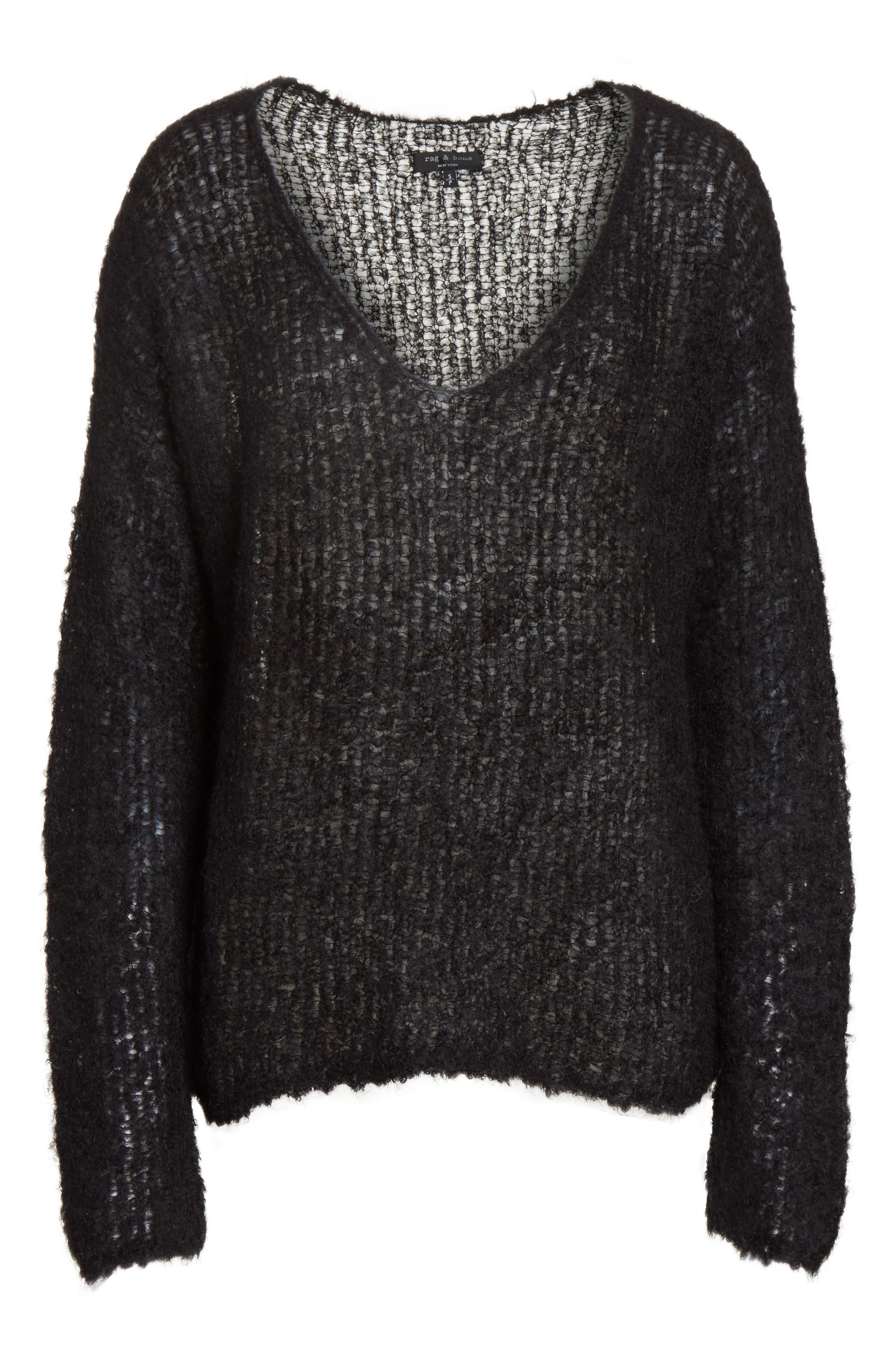 Freda Alpaca Blend Sweater,                             Alternate thumbnail 6, color,                             Black
