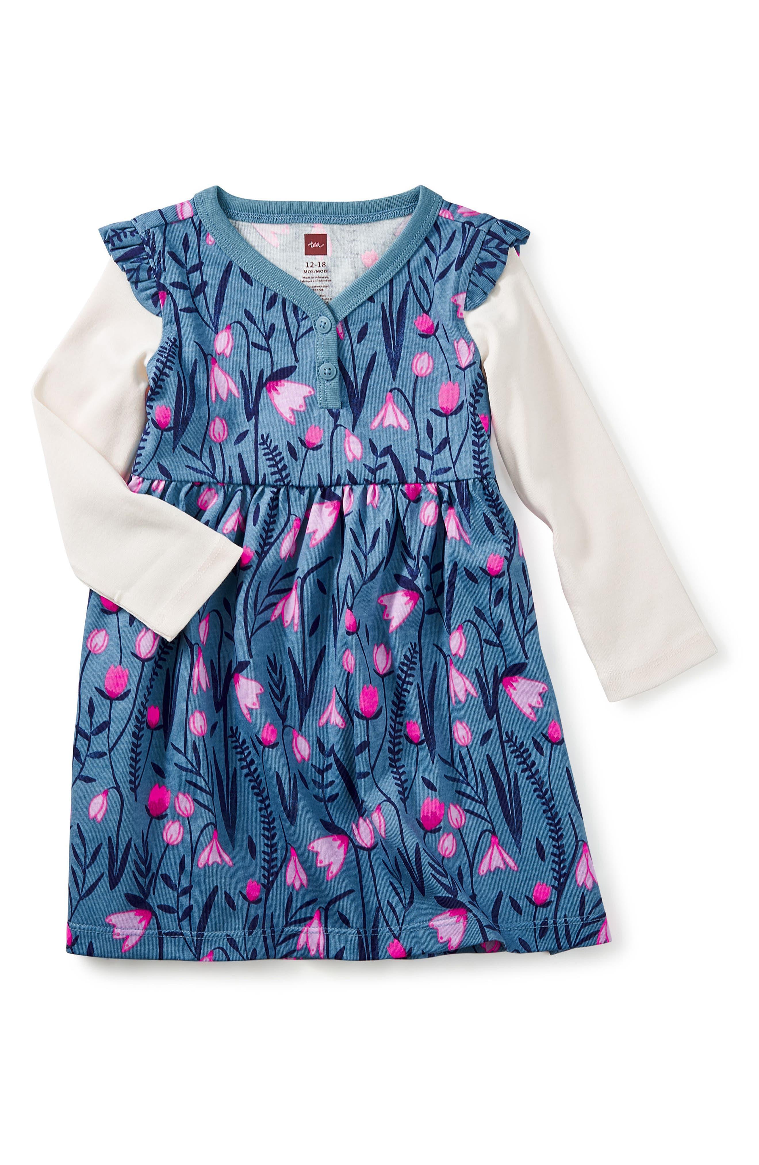 Main Image - Tea Collection Snowdrop Layered Dress (Baby Girls)