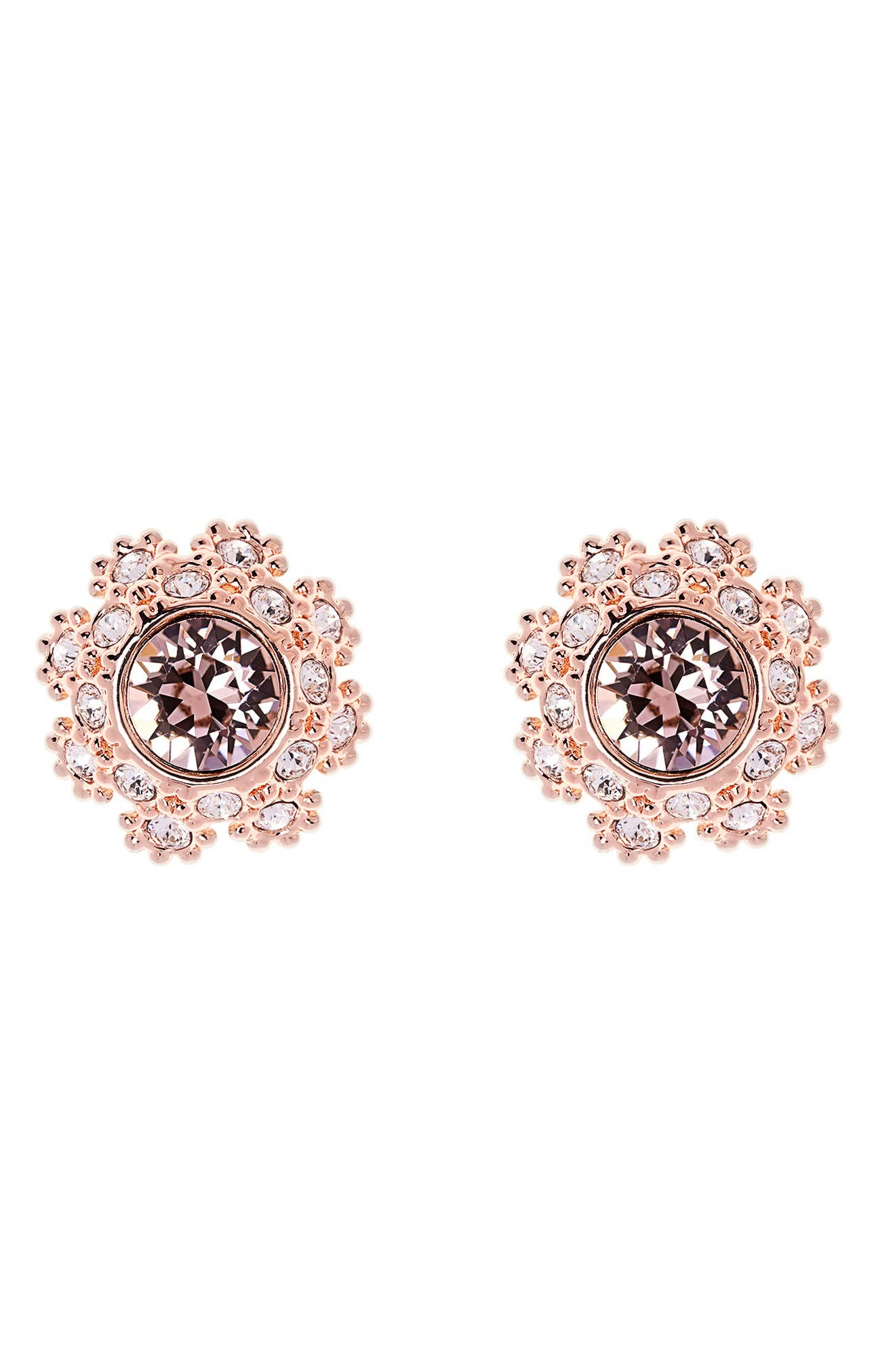 Crystal Daisy Lace Stud Earrings,                             Main thumbnail 1, color,                             Pink