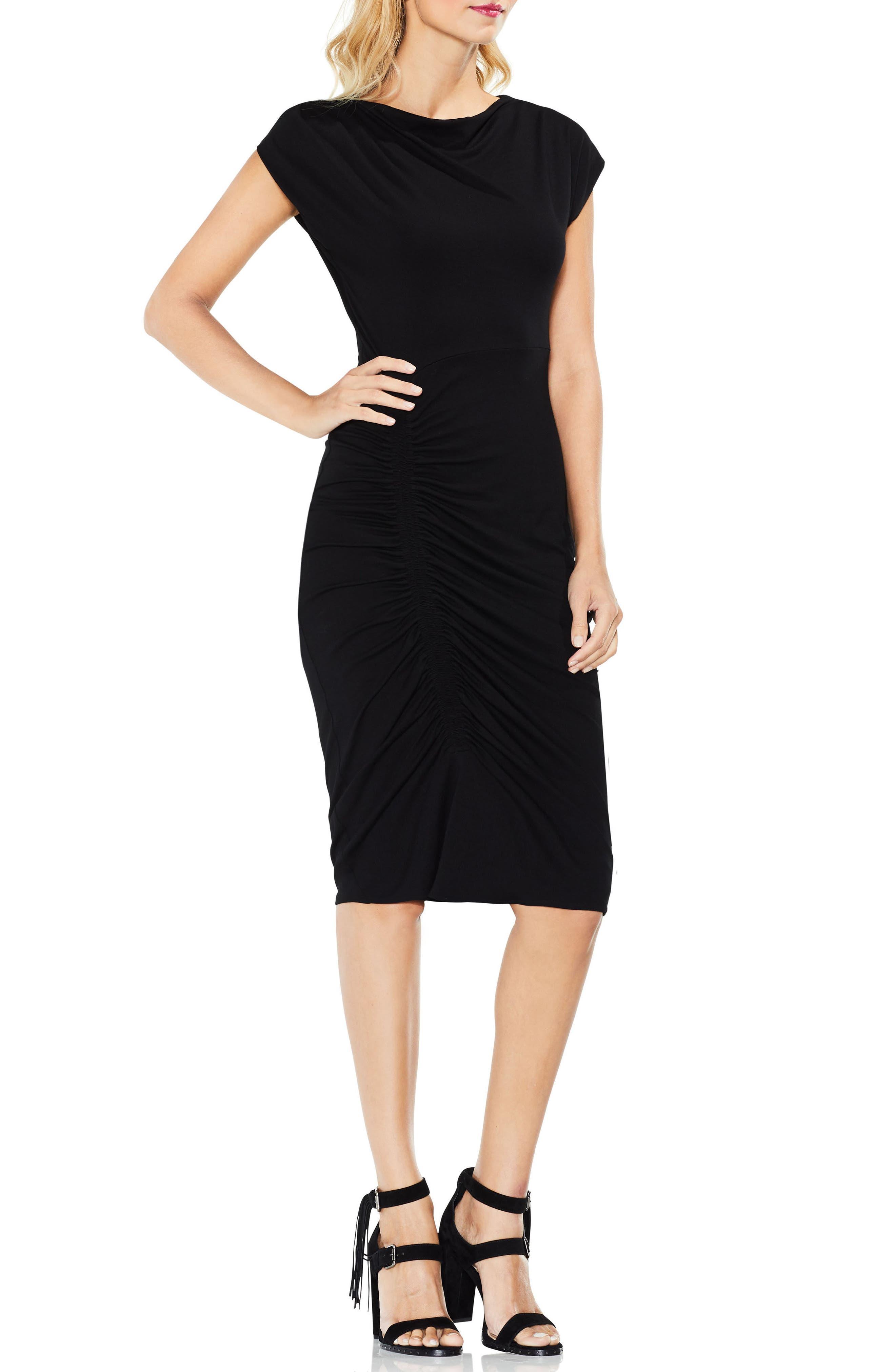 Ruched Jersey Midi Dress,                             Main thumbnail 1, color,                             Rich Black