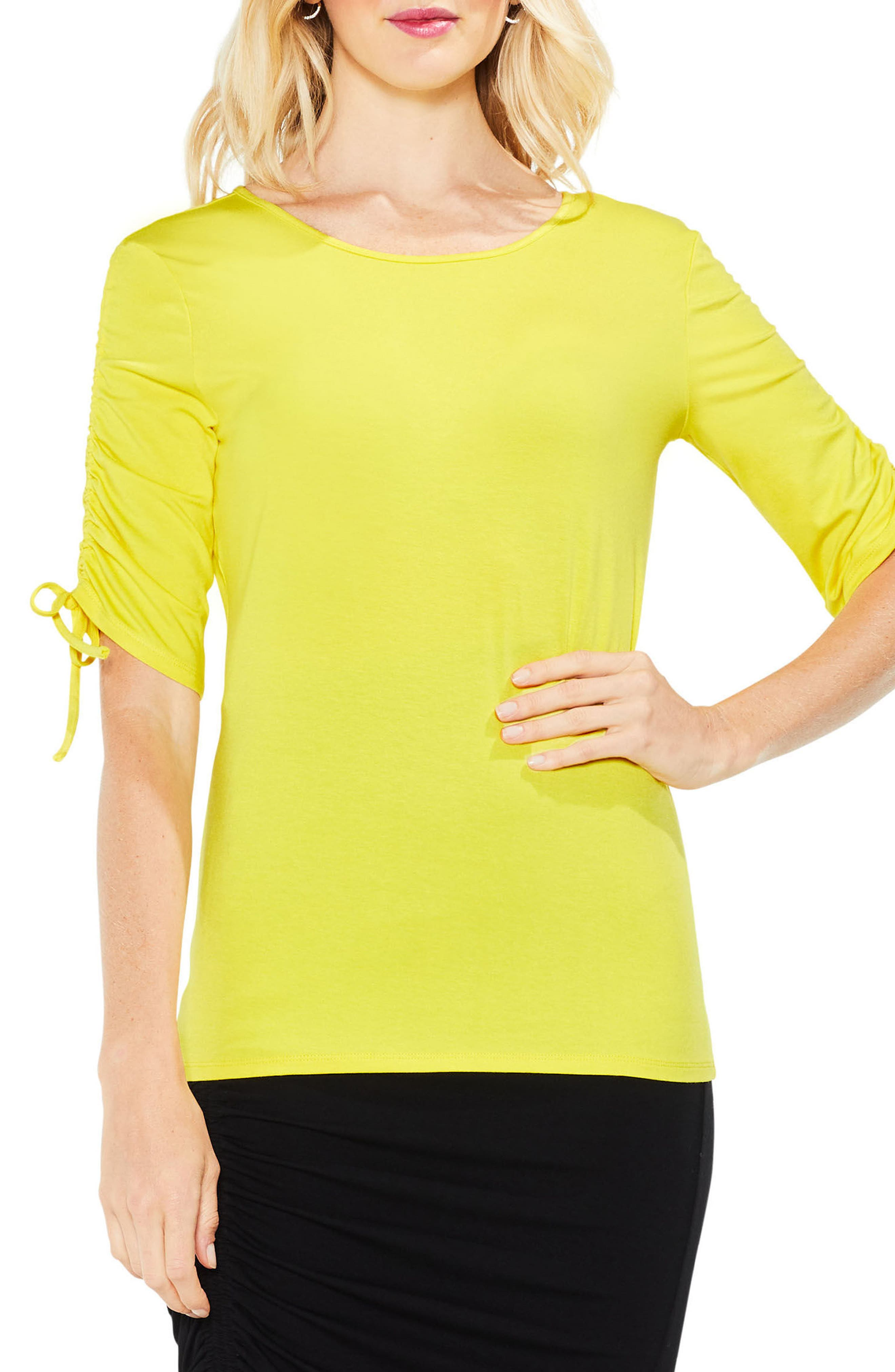 Vince Camuto Ruched Elbow Sleeve Top
