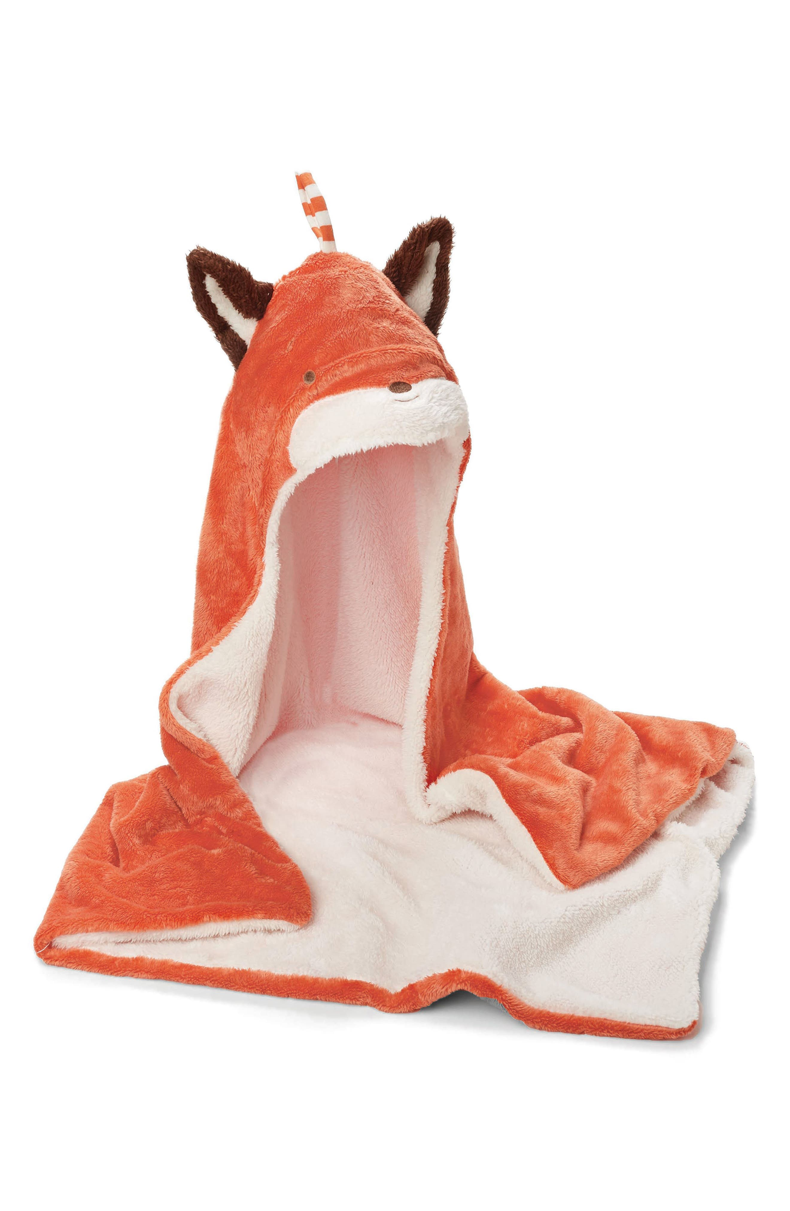 Fox Hooded Blanket,                         Main,                         color, Rusty Orange