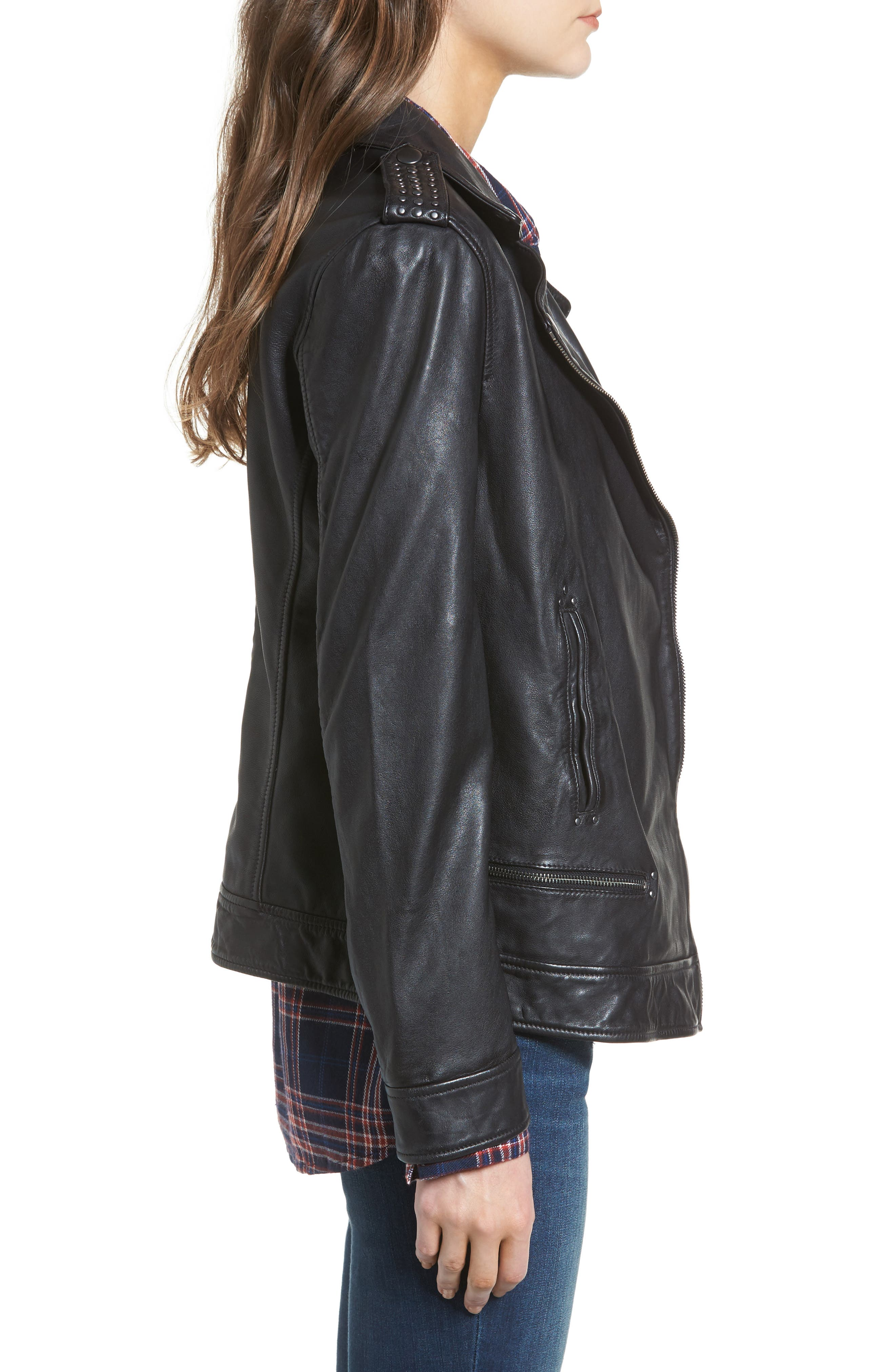 Studded Leather Jacket,                             Alternate thumbnail 3, color,                             Black