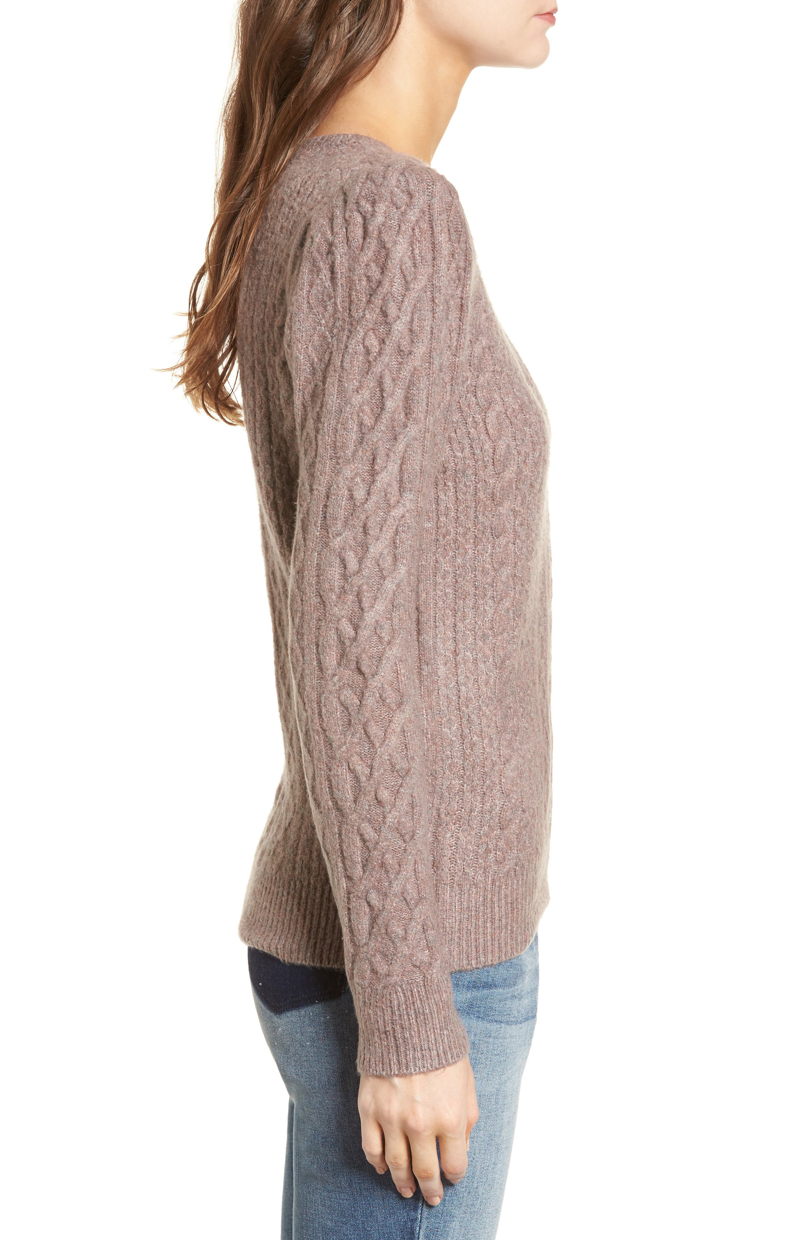 Compact Cable Sweater,                             Alternate thumbnail 3, color,                             Tan Dusk Rainbow Multi