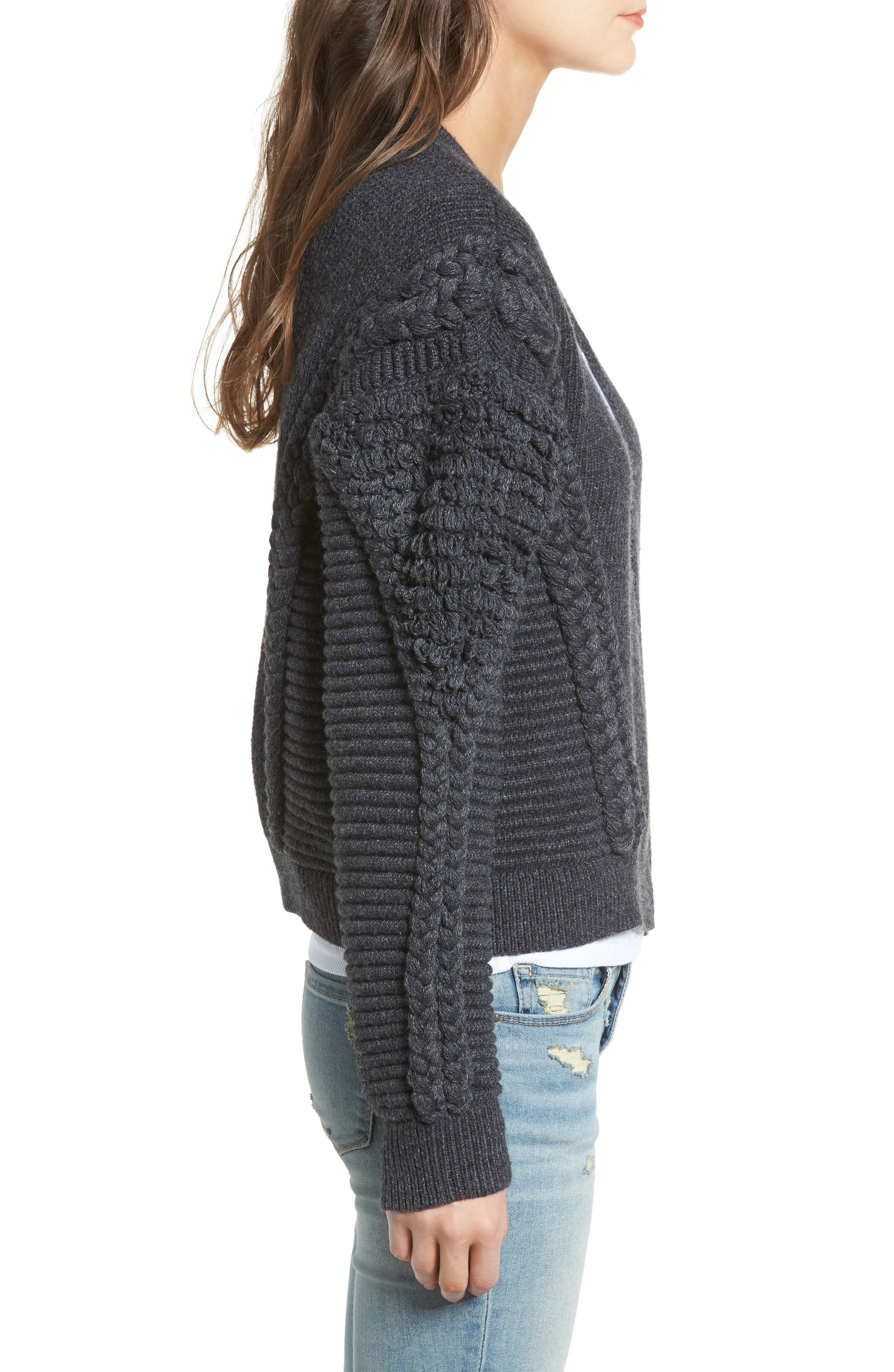 Cable Detail Cardigan,                             Alternate thumbnail 3, color,                             Grey Dark Charcoal Heather