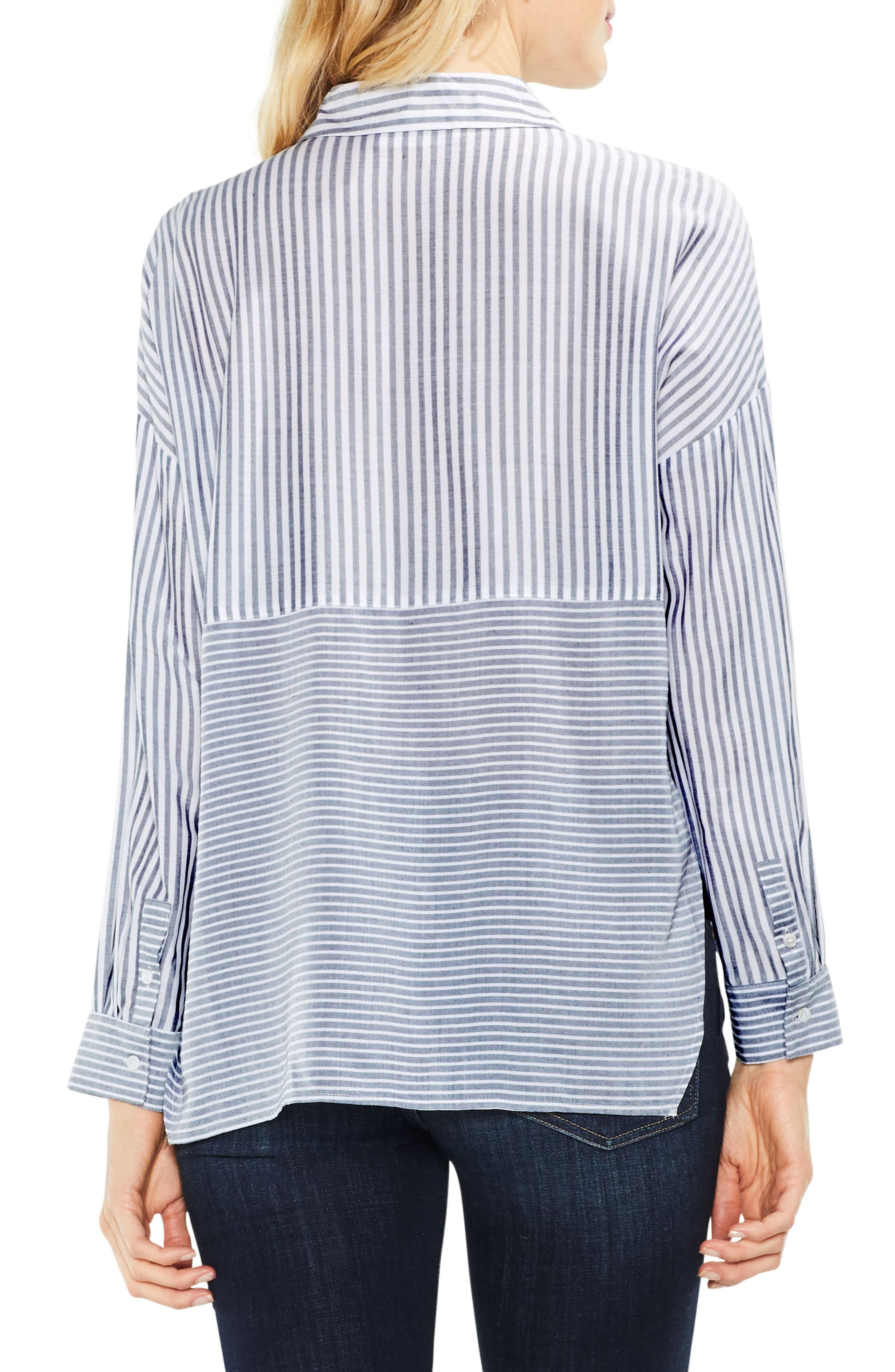 Two by Vince Camuto Mix Stripe Button Down Shirt,                             Alternate thumbnail 2, color,                             Blue Night
