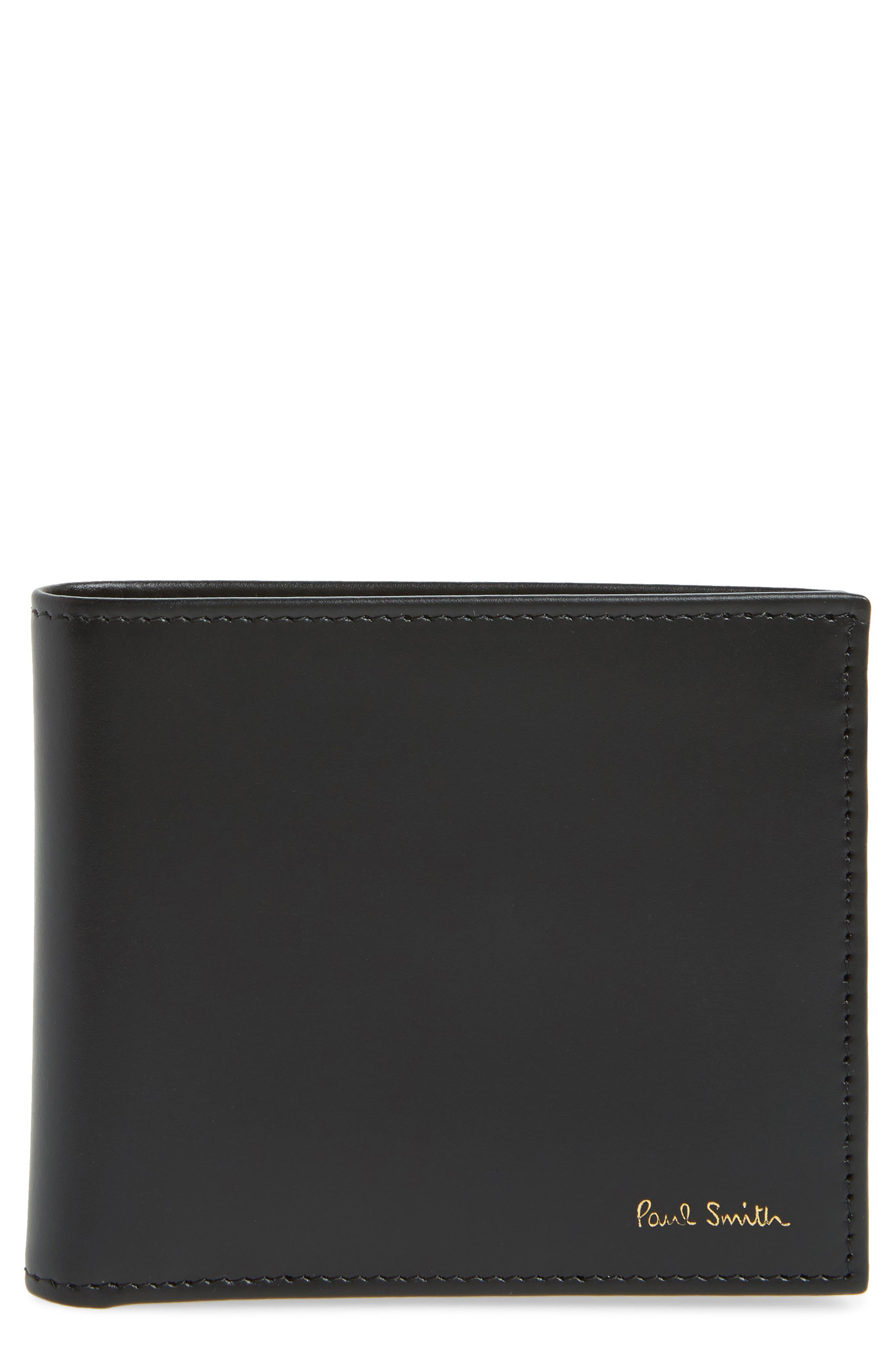 Multistripe Leather Bifold Wallet,                             Main thumbnail 1, color,                             Black