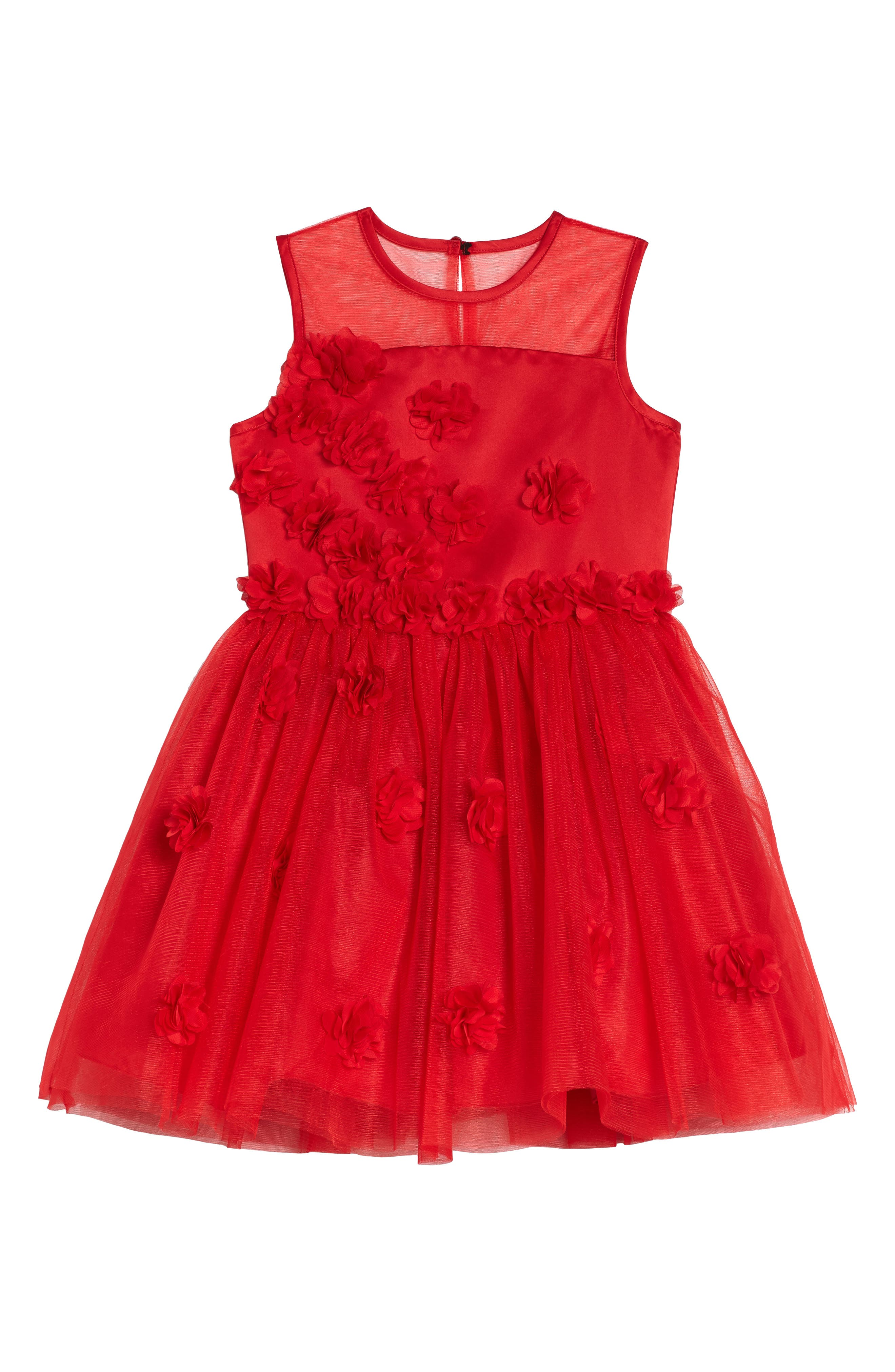 Floral Embellished Sleeveless Dress,                         Main,                         color, Red