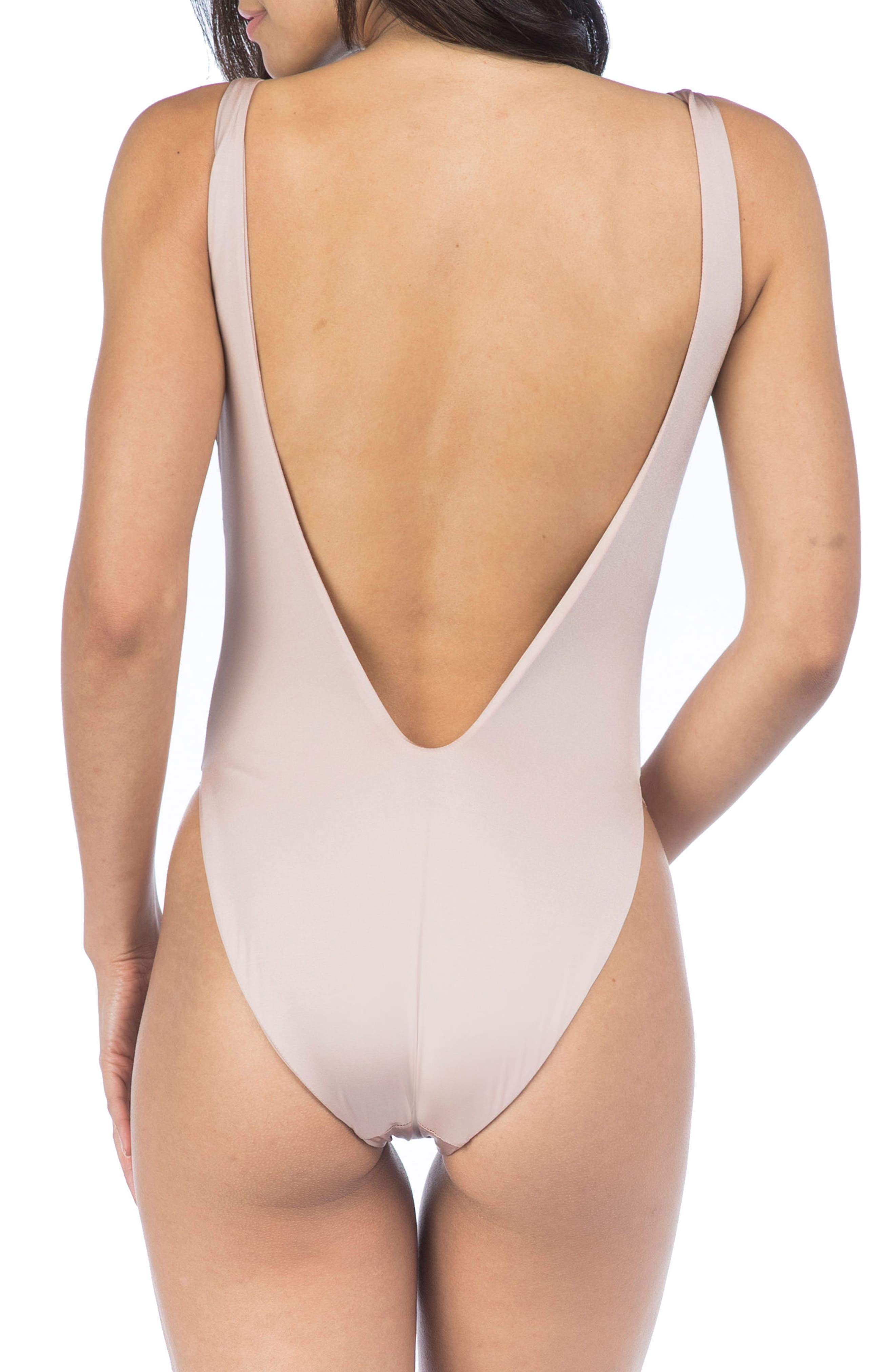 High Leg One-Piece Swimsuit,                             Alternate thumbnail 2, color,                             Blush