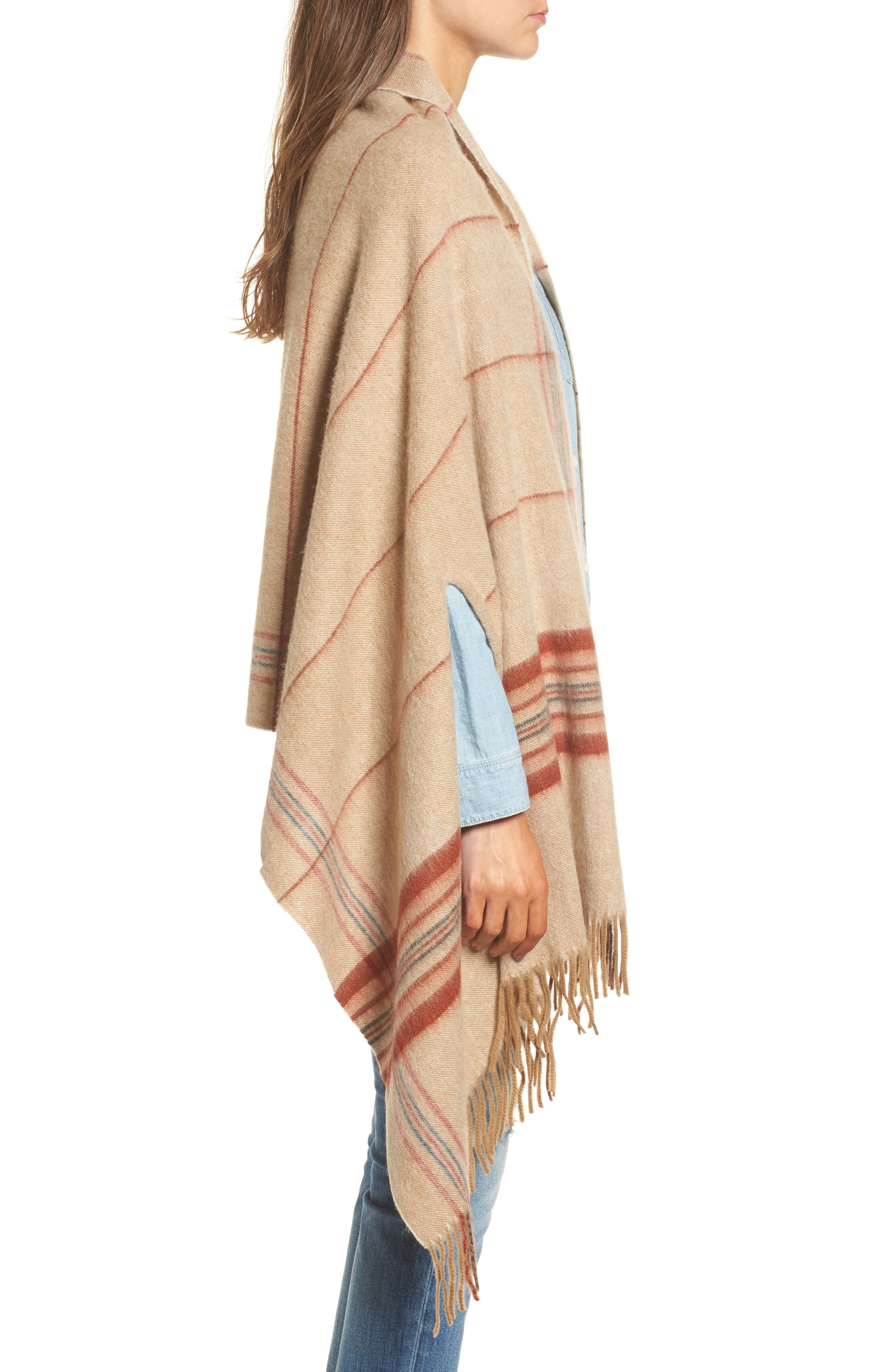 Placed Plaid Cape Scarf,                             Alternate thumbnail 3, color,                             Dark Camel Multi