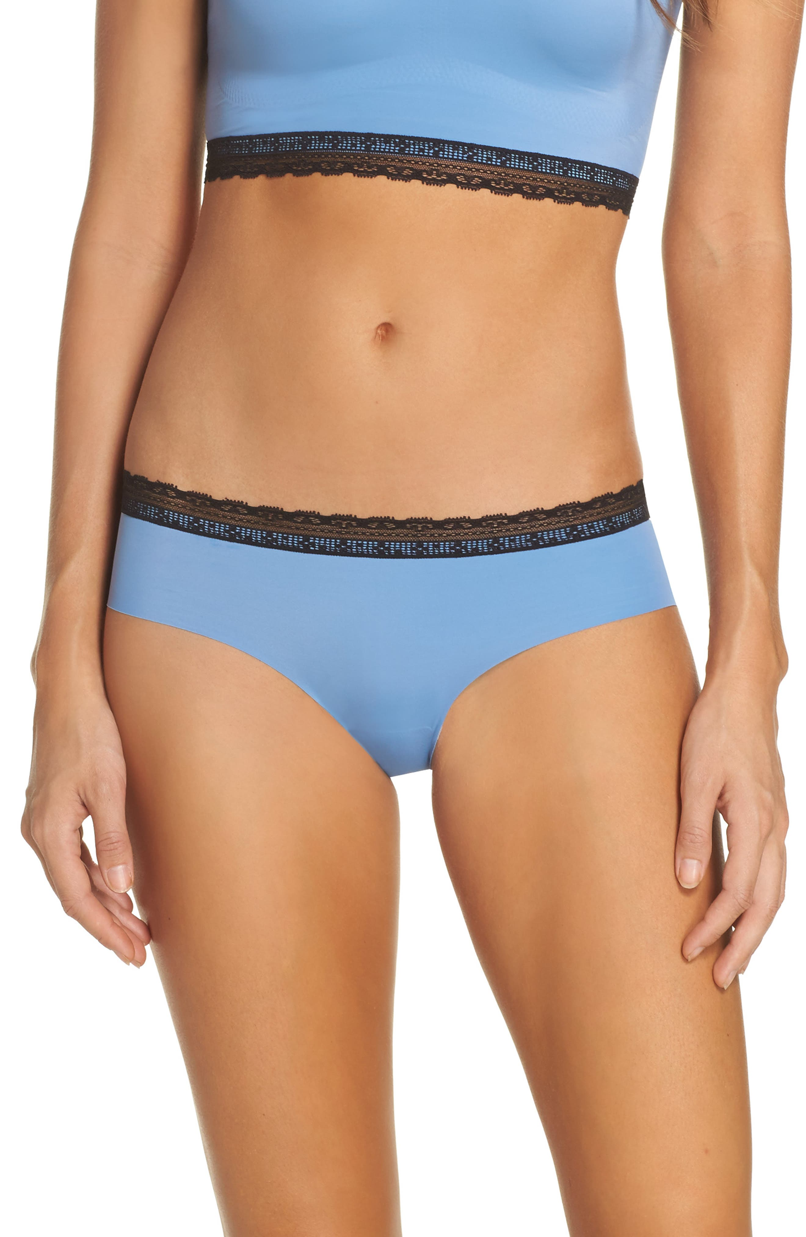 Main Image - Naked Almost Naked Lace Trim Hipster Briefs