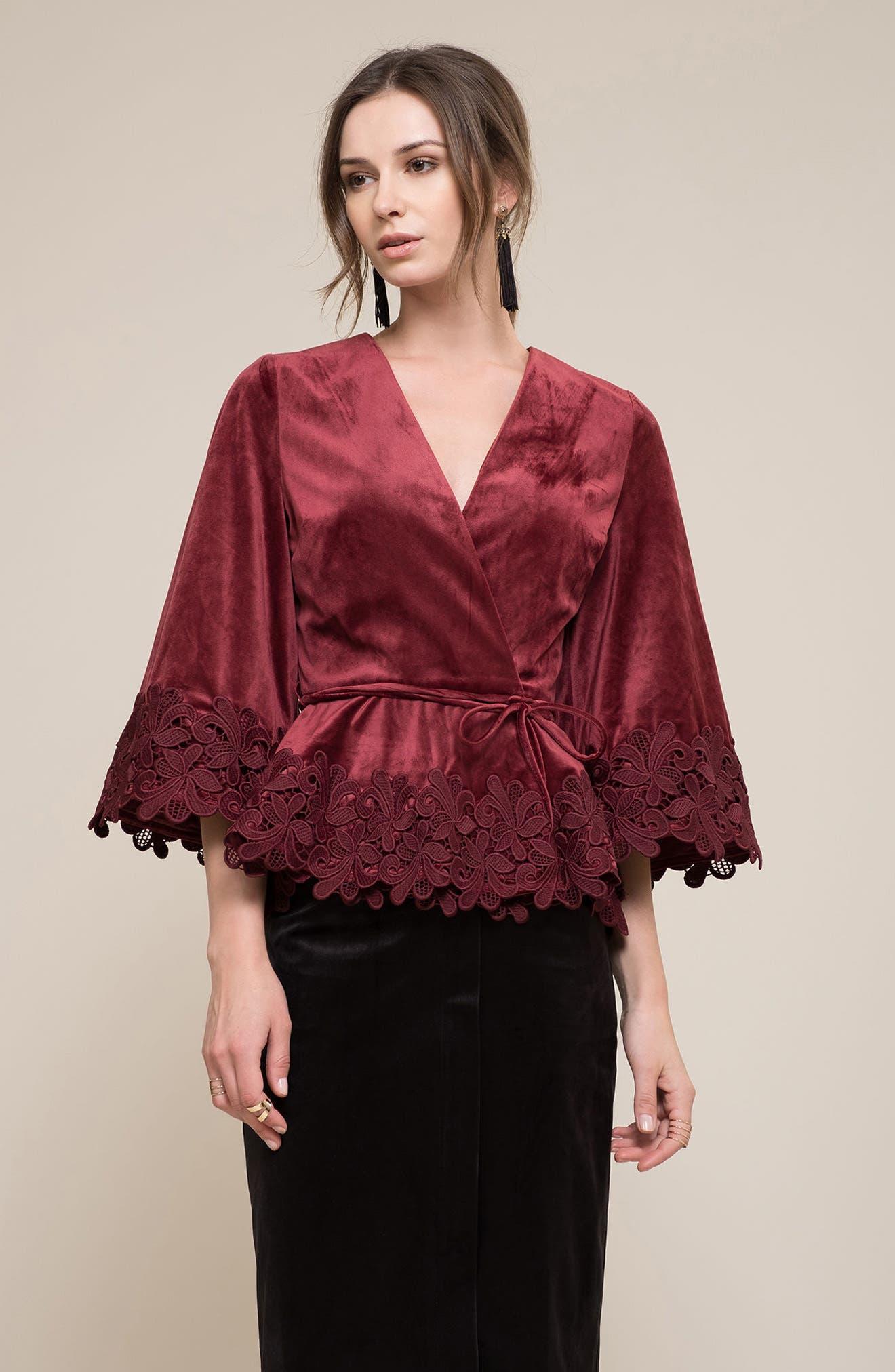 Lace Hem Velvet Wrap Top,                             Alternate thumbnail 7, color,                             Wine