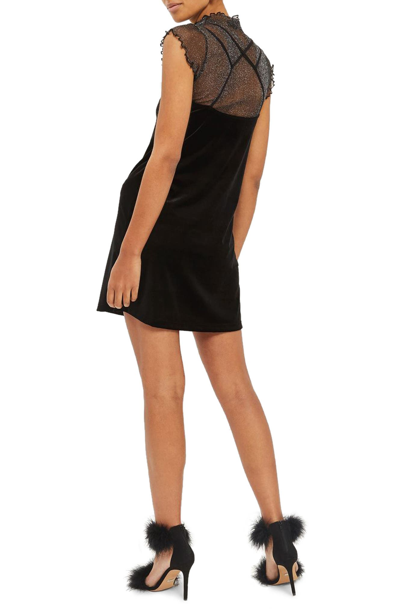Velvet Slipdress,                             Alternate thumbnail 2, color,                             Black