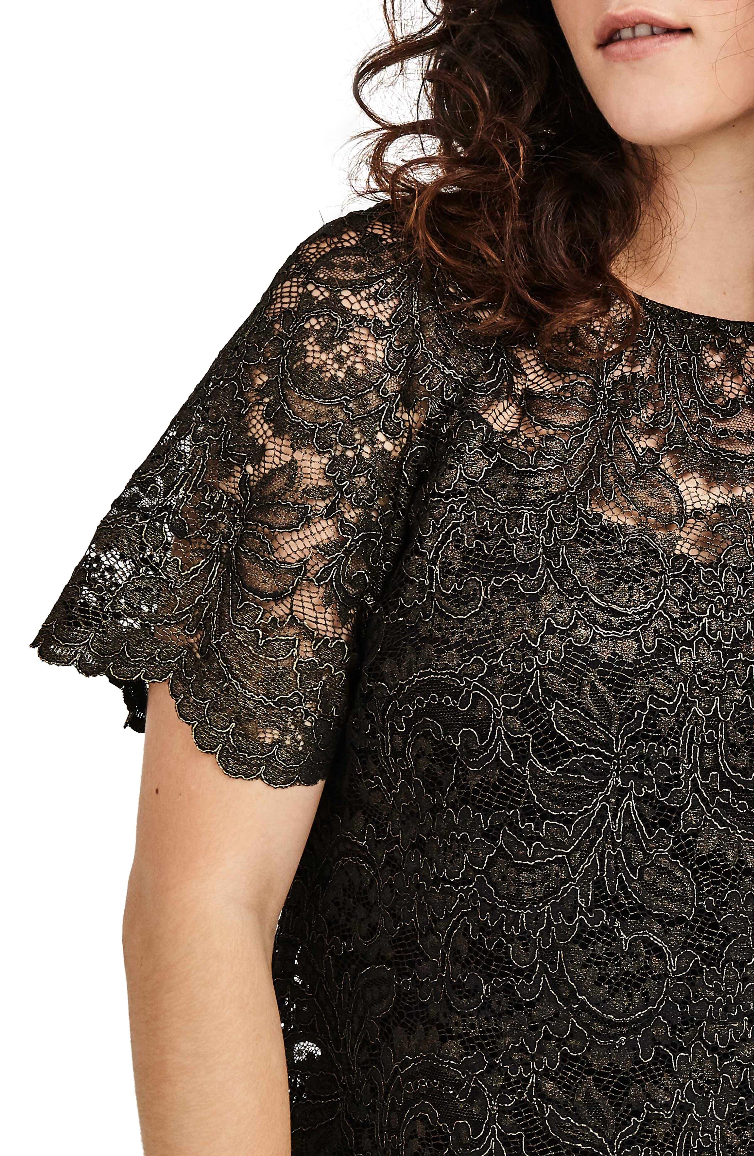 V-Back Lace Top,                             Alternate thumbnail 4, color,                             Black Gold