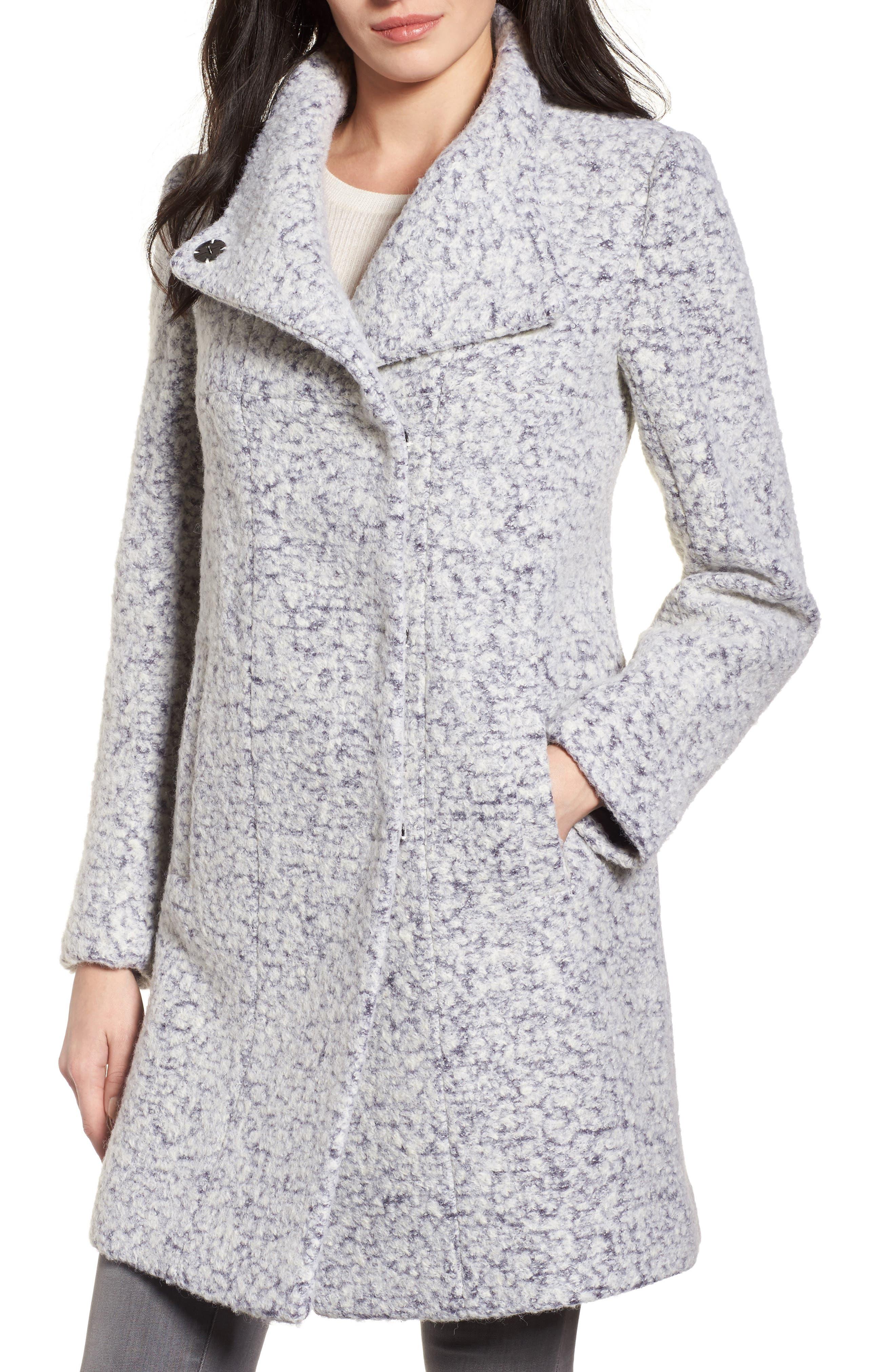 Pressed Bouclé Coat,                         Main,                         color, Zinc