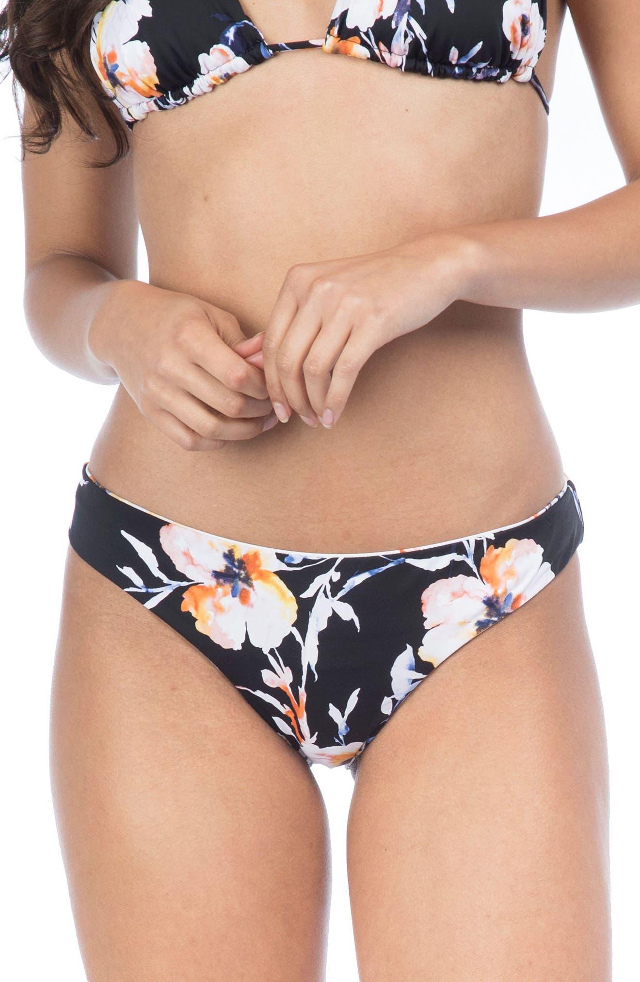 Watercolors Reversible Hipster Bikini Bottoms,                         Main,                         color, Navy Multi